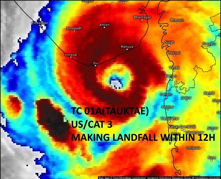 TC 01A(TAUKTAE). 17/14UTC. THE DISTINCT EYE FEATURE IS FORECAST TO MAKE LANDFALL NEAR JAFRABAD,GUJARAT/INDIA WITHIN THE NEXT 12HOURS. Meteosat-8/Eumetsat.