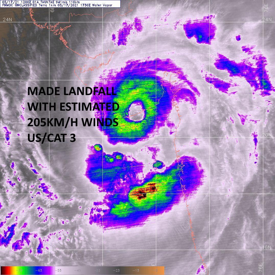 TC 01A. 17/1730UTC. MODIS/AQUA CAPTURED THE WELL DEFINED EYE FEATURE AT LANDFALL VERY NEAR JAFARABAD.