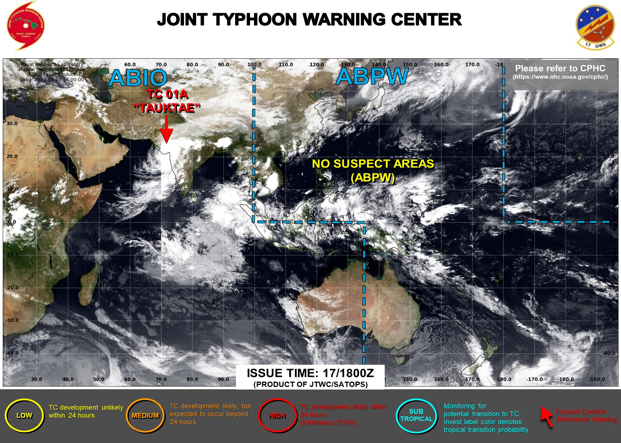 17/21UTC. FINAL WARNING WAS ISSUED BY THE JTWC ON TC 01A(TAUKTAE). 3 HOURLY SATELLITE BULLETINS ARE STILL ISSUED.