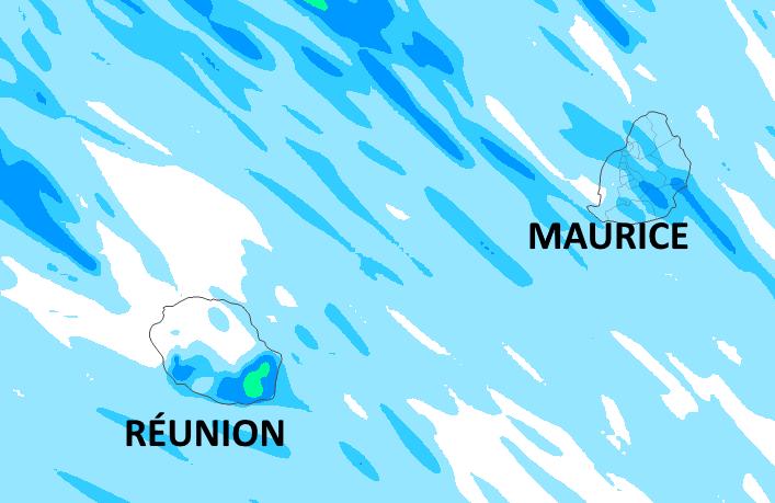 La moitié Nord-Ouest de la RÉUNION bénéficie d'un temps sec. L'humidité intéresse surtout la zone du volcan et le quart Sud-Est mais ne donne que de modestes cumuls de pluie. A MAURICE le Sud-Est et les pentes Sud et Est du Plateau Central restent dans l'humidité ambiante mais une fois encore les quantités de pluie sont modestes. Quelques gouttes touchent aussi ponctuellement le Nord. Simulation du modèle Arôme: accumulation des précipitations de Vendredi 4h à Samedi 22h. MFRANCE.MCIEL.