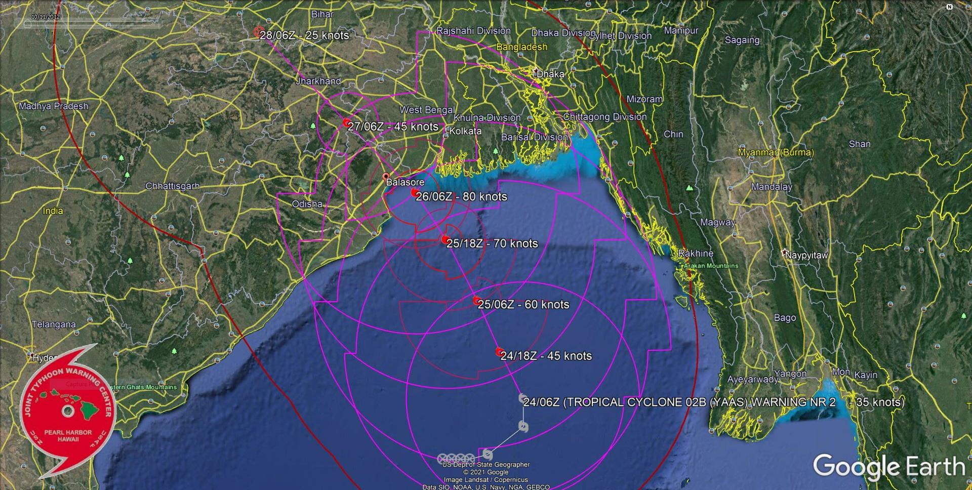 TC 02A(YAAS). WARNING 2. FORECAST LANDFALL AREA BETWEEN BALESWAR AND KOLKATA SHORTLY AFTER 48H.