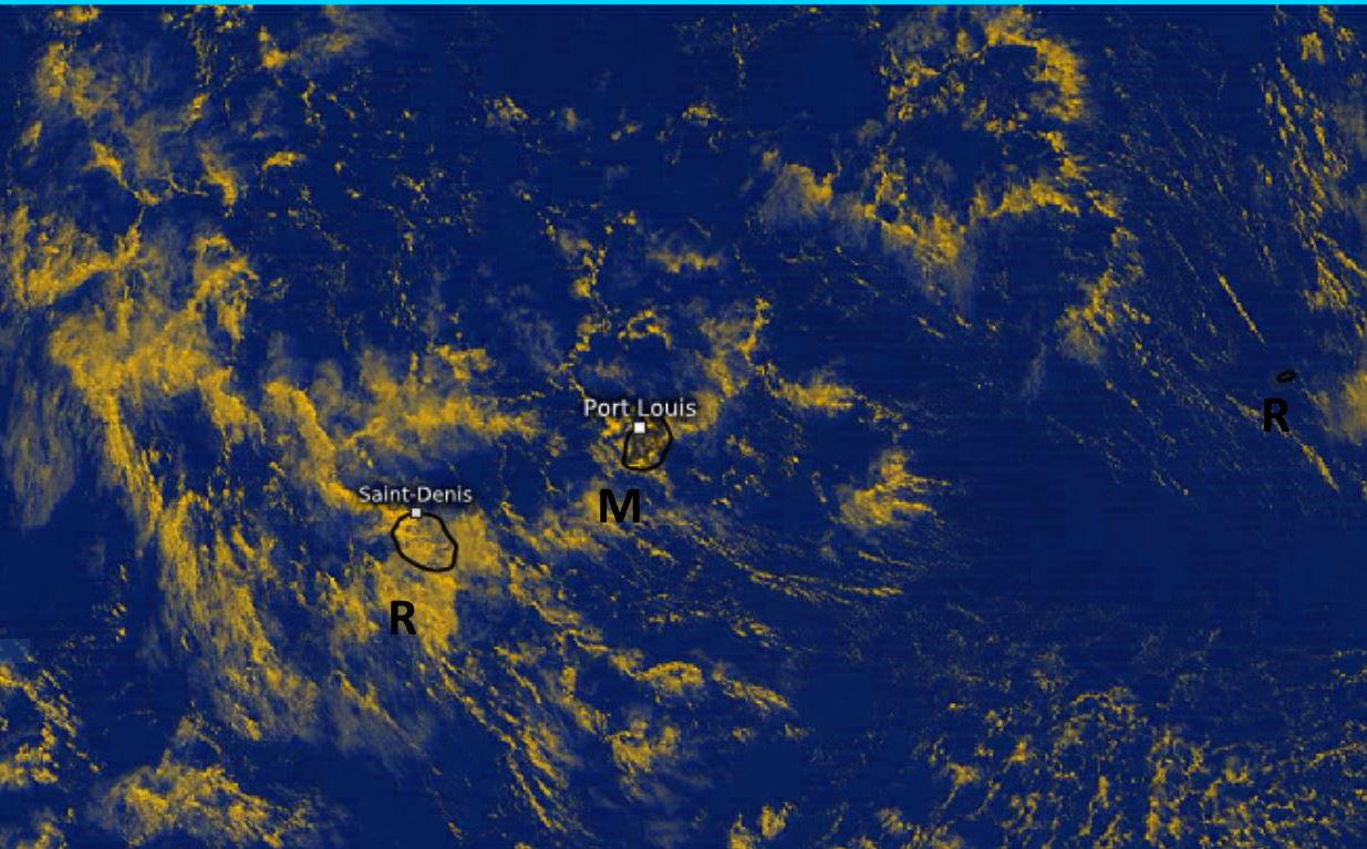Image Météosat-8 à midi ce Lundi. La RÉUNION est quasiment entièrement sous les nuages. MAURICE bénéficie davantage des éclaircies. Beau temps à RODRIGUES. Eumetsat. PH.