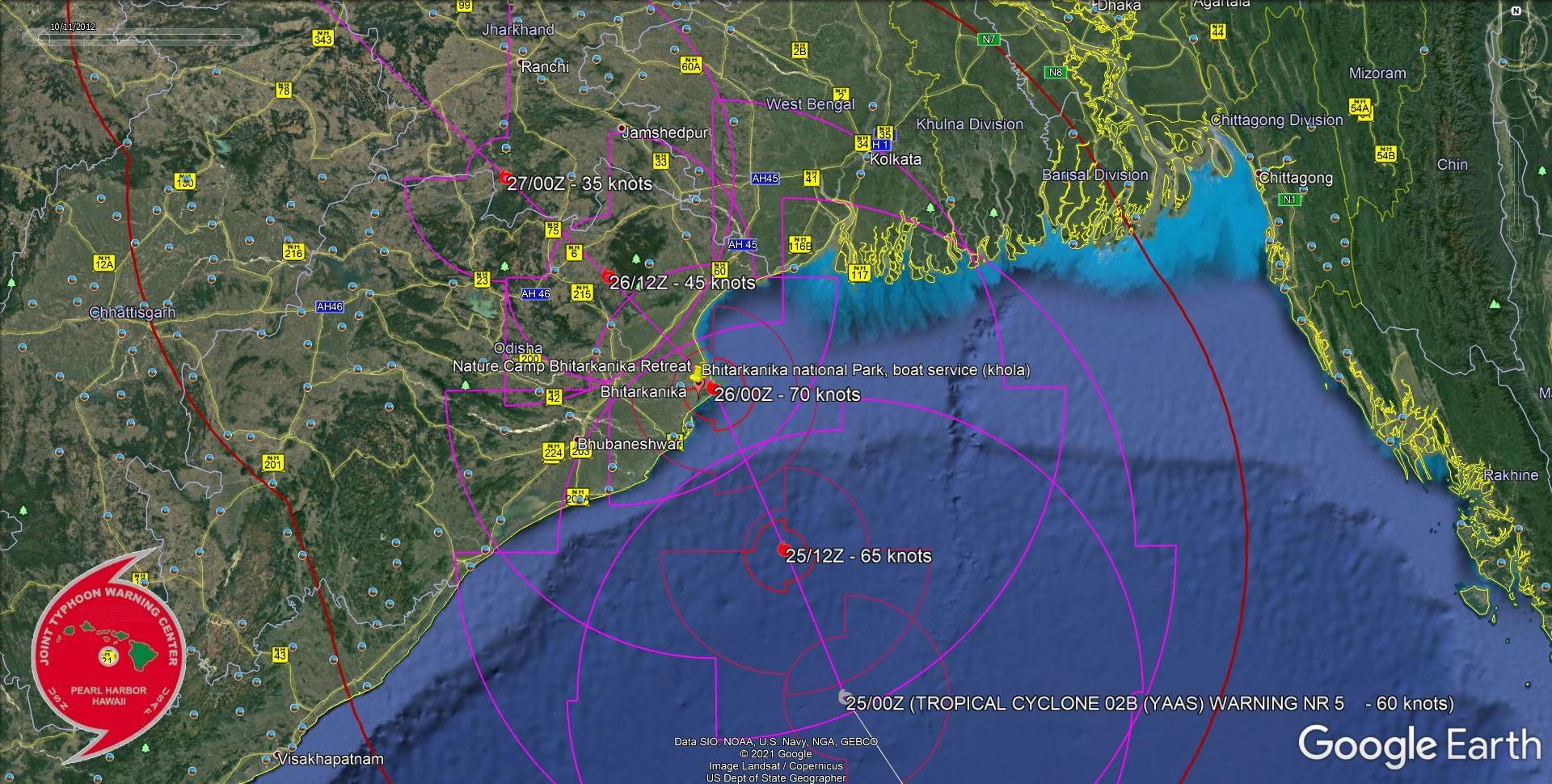 TC 02B(YAAS). WARNING 5. FORECAST LANDFALL AREA NEAR BHITARKANINKA NATIONAL PARK IN 24H.