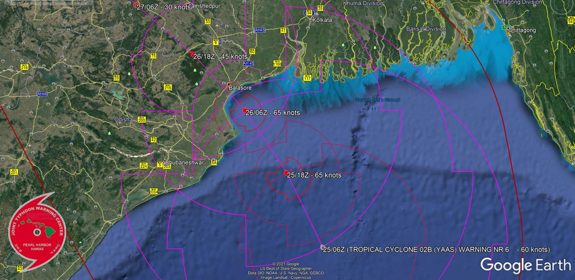 TC 02B. FORECAST LANDFALL AREA: NEAR BALASORE/ODISHA SHORTLY AFTER 24HOURS.