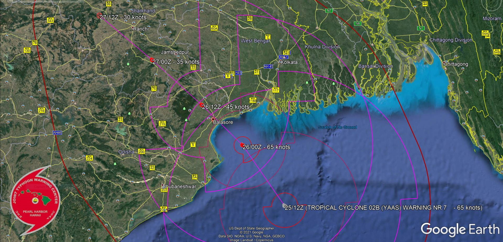 TC 02B(YAAS). WARNING 7. FORECAST LANDFALL AREA NEAR BALASORE/ODISHA SHORTLY BEFROE 24H.