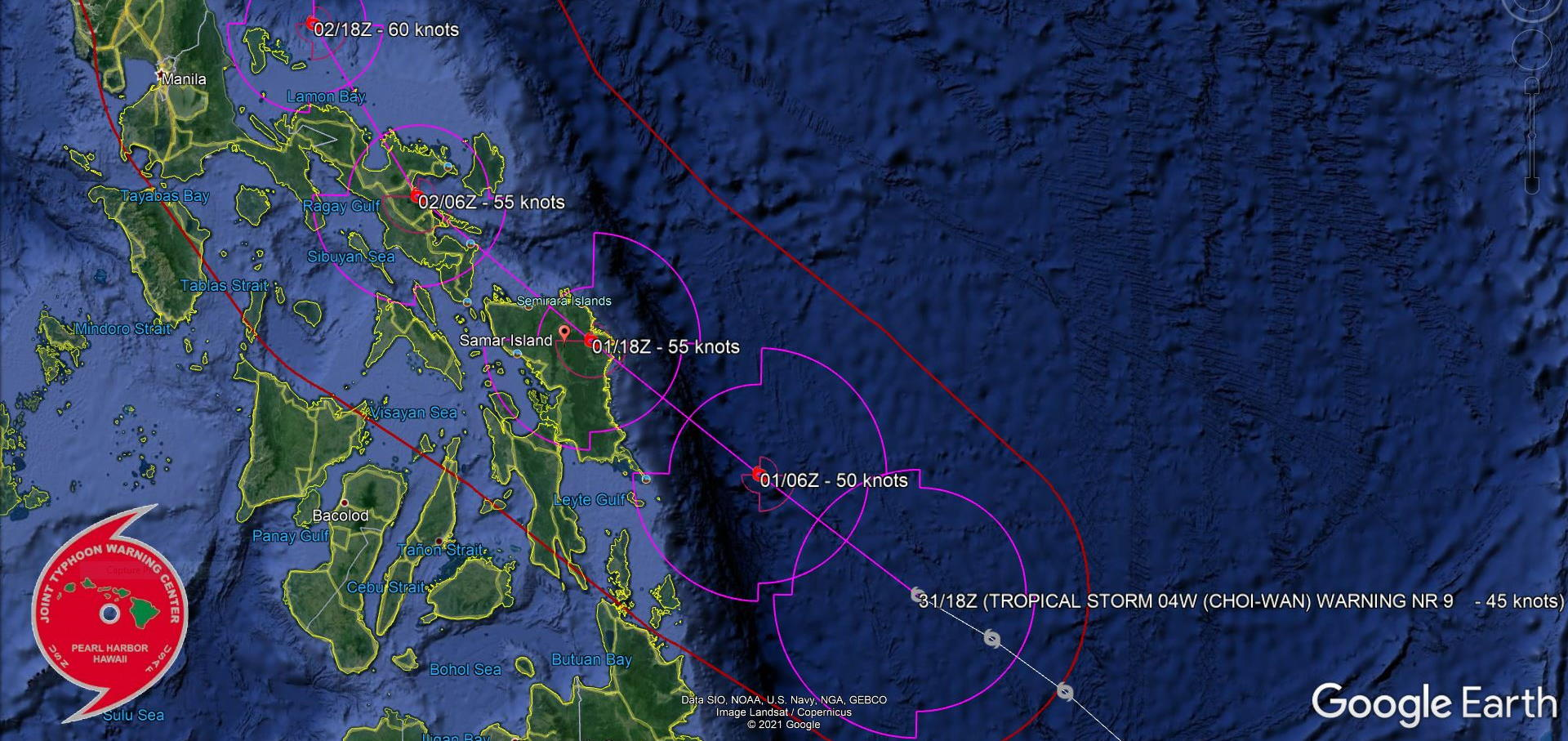 TS 04W. WARNING 9. FORECAST TO TRACK OVER EASTERN SAMAR IN APPRX 24H. MODERATE CONFIDENCE IN THE FORECAST.