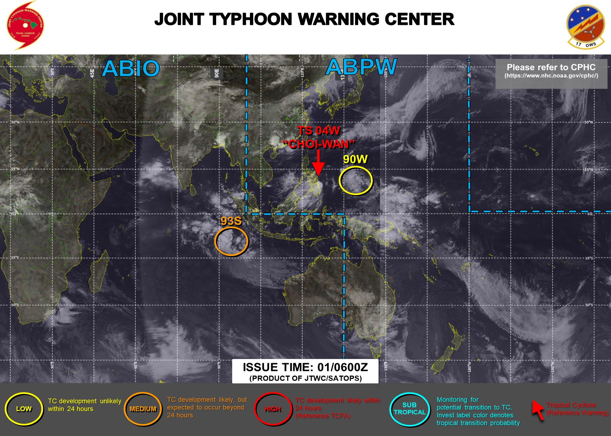 01/06UTC. JTWC HAS BEEN ISSUING 6HOURLY WARNINGS AND 3HOURLY SATELLITE BULLETINS ON TS 04W. INVEST 90W IS ONCE AGAIN ON THE MAP: LOW CHANCES OF DEVELOPING 25KNOT WINDS NEAR ITS CENTER OVER 24HOURS.INVEST 93S IS UP-GRADED TO MEDIUM: MODERATE CHANCES OF DEVELOPING 35KNOT WINDS NEAR ITS CENTER OVER 24HOURS. 3HOURLY SATELLITE BULLETINS ARE NOW ISSUED ON 93S.