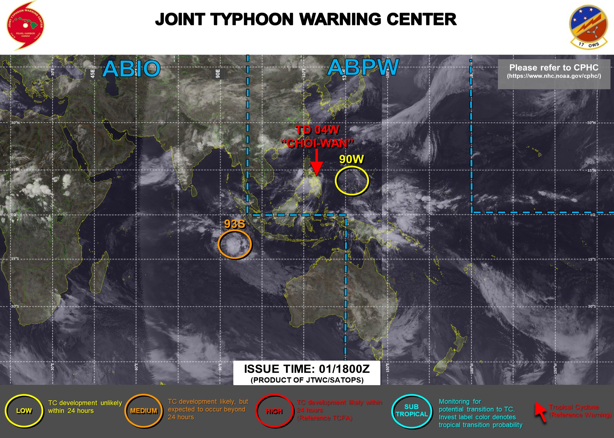 01/18UTC. JTWC HAS BEEN ISSUING 6HOURLY WARNINGS AND 3HOURLY SATELLITE BULLETINS ON TD 04W. 3HOURLY SATELLITE BULLETINS ARE ISSUED FOR INVEST 93S.