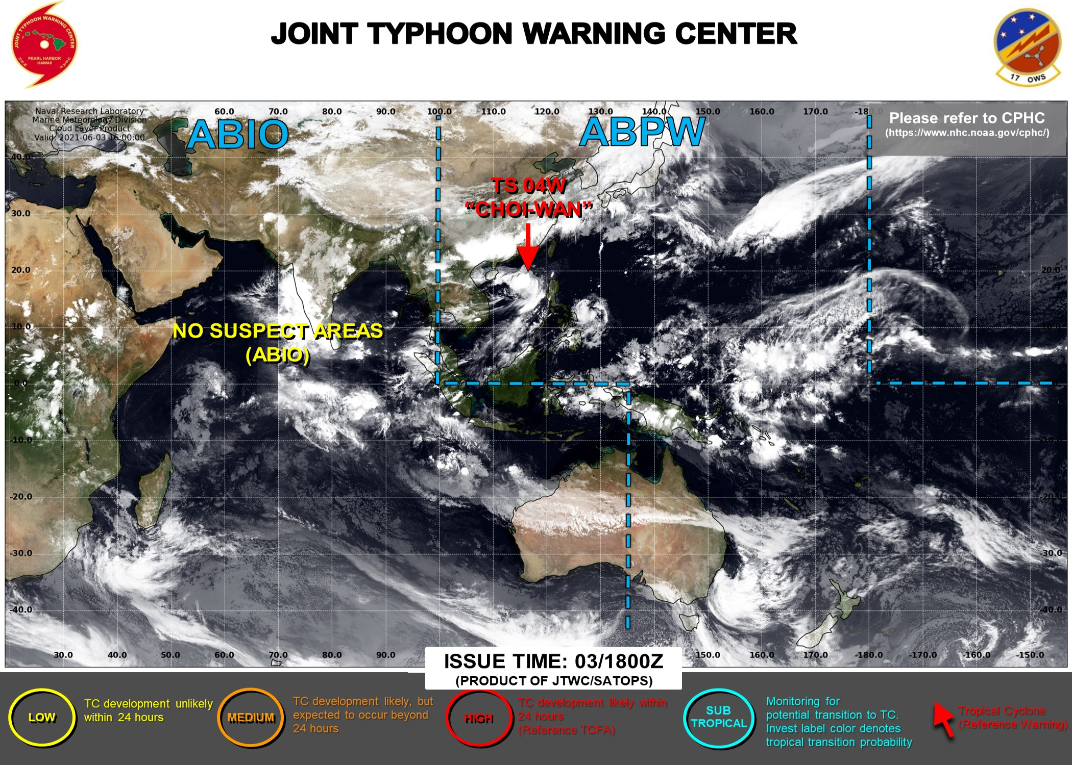 JTWC HAS BEEN ISSUING 6HOURLY WARNINGS AND 3HOURLY SATELLITE BULLETINS ON 04W. INVEST 93S HAS BEEN REMOVED FROM THE MAP AS THE AREA IS NO LONGER CONSIDERED HAVING POTENTIAL TO DEVELOP WITHIN 24H.