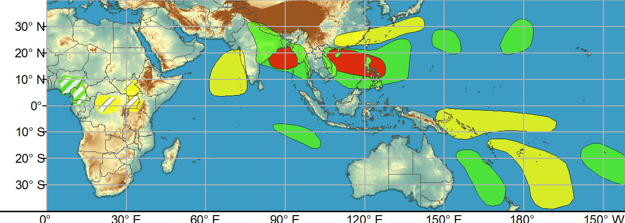 WEEK 1: JUNE 09 TO JUNE 15. While no TCs formed during the last week, there are several areas across the global tropics with heightened potential for development through mid-June. In the eastern Hemisphere, the Joint Typhoon Warning Center (JTWC) is currently monitoring an area of convection east of the Mariana Islands. Although there is good agreement between the GEFS and ECMWF ensembles favoring some strengthening over the next day or so, this potential system is expected to soon encounter a high shear environment to inhibit development, thus no corresponding TC area is included in the week-1 outlook. However, high confidence areas for TC development are issued farther west for week-1 over the West Pacific (extending from the South China Sea through the Philippines), as well as over the Indian Ocean (northern Bay of Bengal) due to the aforementioned Rossby and Kelvin wave activity as well as continued agreement in ensemble guidance and probabilistic TC tools.