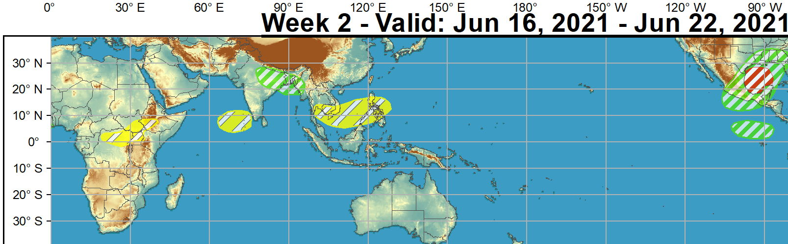 For week-2, there is more uncertainty in the TC perspective across the Pacific and Indian Basins. Ensembles favor an area of surface low pressure to persist over western India and the Bay of Bengal which may lead to additional tropical cyclogenesis in the region, however confidence is too low at this time to include in the outlook.