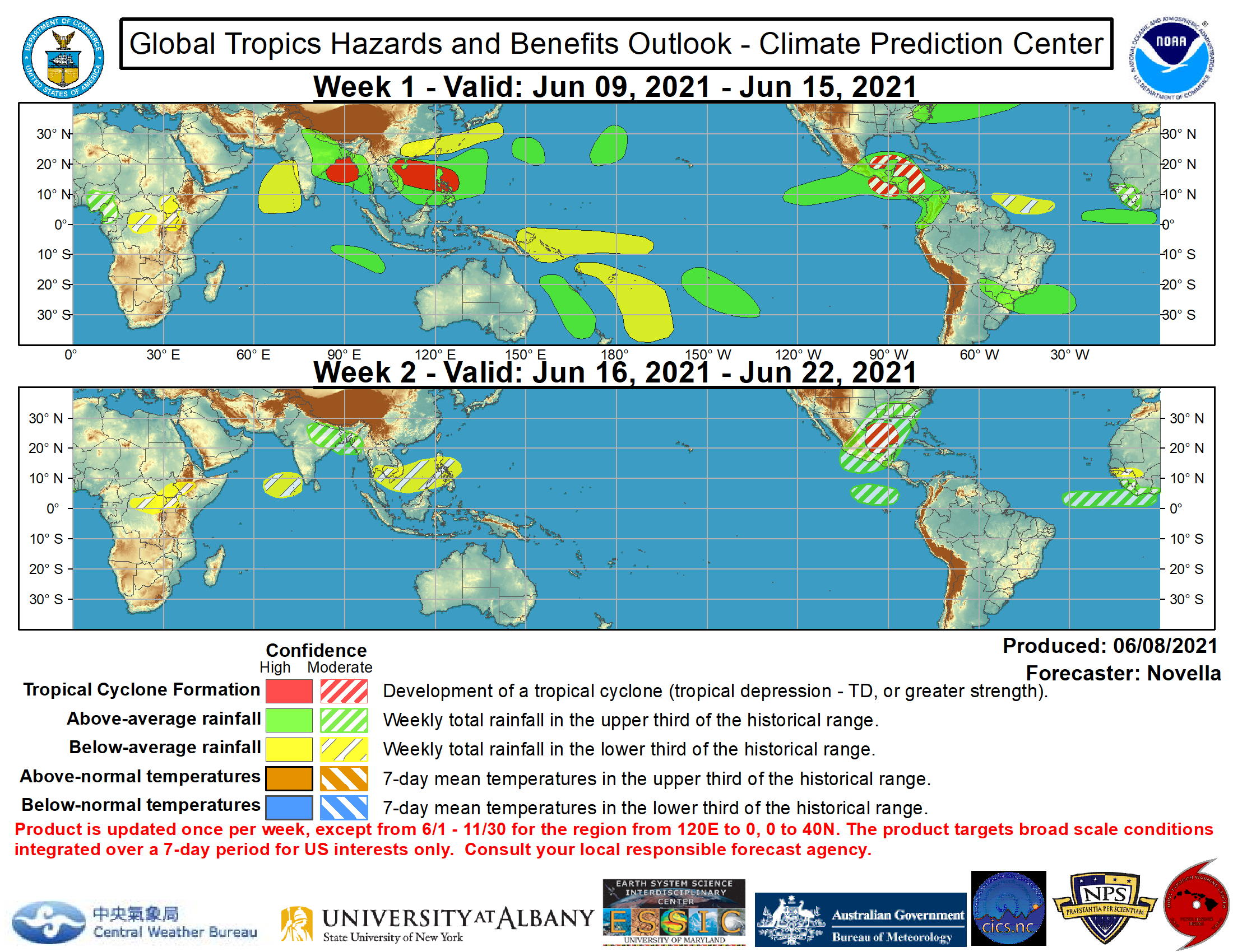 In the western Hemisphere, the National Hurricane Center (NHC) anticipates the development of a broad trough of low pressure located to the south of Central America and extending into the Gulf of Tehuantepec. There is good model support for the enhancement of the Central American Gyre (CAG) late in week-1, and with probabilistic TC tools indicating moderate chances for development in the region a moderate confidence area is highlighted in the outlook for week-1. Tied to this favorable circulation environment, the NHC also anticipates the development of an area of low pressure across the southwestern Caribbean. The GEFS continues to depict several ensemble member low centers shifting northwestward into the Gulf of Honduras and into the Bay of Campeche by late in week-1. Given lesser support of this realization in the ECMWF guidance, a moderate confidence area is present for week-1. By the early portion of week-2, probabilistic TC tools maintain elevated chances of formation focused in the western Gulf of Mexico associated with mean low pressure in the ensembles. In the event a system does not develop further south during the week-1 period, a moderate confidence region is also added over the Gulf of Mexico to account for this potential. Regardless of formation, enhanced precipitation is favored across much of Central America, Mexico, the western Caribbean and into the lower Gulf States of the U.S. during the next two weeks. Elsewhere, increased signals of TC formation also exist in the western Atlantic associated with an area mid-latitude low pressure forecast to move off the Eastern Seaboard and stall offshore near the Southeast and mid-Atlantic. However, there is insufficient confidence this low will gain tropical characteristics and no corresponding TC area is posted.  The precipitation outlook during the next two weeks is largely based on a consensus among the CFS, GEFS, and ECMWF ensemble means, anticipated TC tracks, and tropical waves. For hazardous weather con