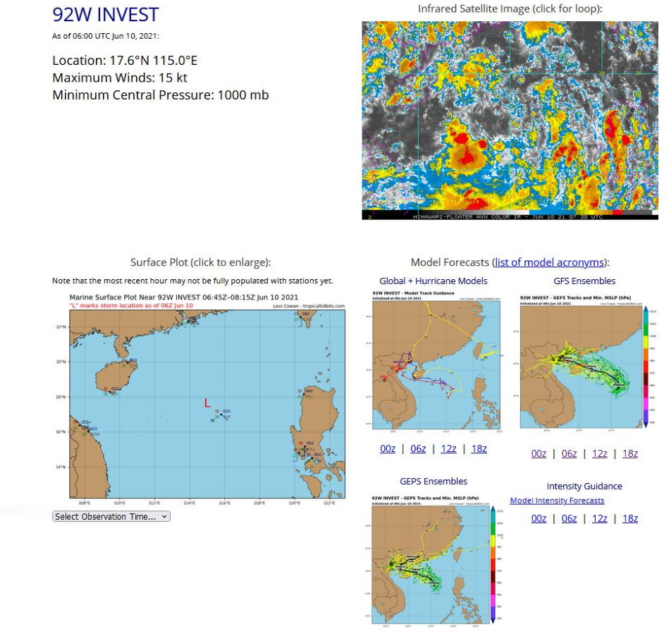 INVEST 92W. ANIMATED MULTISPECTRAL SATELLITE IMAGERY AND A 100534Z AMSR2 89 GHZ MICROWAVE  IMAGE DEPICT A BROAD LOW LEVEL CIRCULATION WITH CONVECTION  DISPLACED FROM THE CENTER AND THE RADIUS OF MAX WINDS EXTENDING TO  APPROXIMATELY 185KM FROM THE CENTER, INDICATING THAT 92W IS A  MONSOON DEPRESSION AT THIS TIME. UPPER LEVEL ANALYSIS INDICATES A  MARGINALLY FAVORABLE ENVIRONMENT WITH LOW VERTICAL WIND SHEAR (