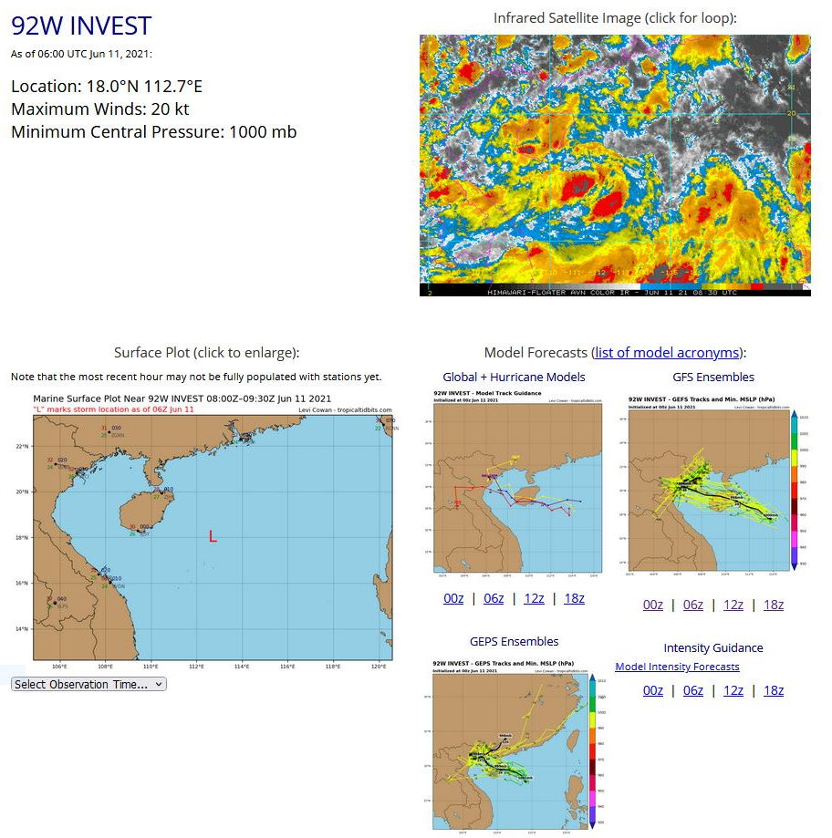 INVEST 92W. ANIMATED MULTISPECTRAL SATELLITE IMAGERY AND A 102335UTC AMSR2 89 GHZ MICROWAVE IMAGE DEPICTS  A BROAD LOW LEVEL CIRCULATION WITH CONVECTION DISPLACED FROM  THE CENTER. IN ADDITION, AN 110230UTC ASCAT METOP-C IMAGE SHOWS THAT  THE RADIUS OF MAX WINDS EXTENDS APPROXIMATELY 280KM FROM THE CENTER,  INDICATING THAT 92W REMAINS A MONSOON DEPRESSION. UPPER LEVEL  ANALYSIS INDICATES A MARGINALLY FAVORABLE ENVIRONMENT WITH LOW TO  MODERATE VERTICAL WIND SHEAR (VWS) (10-20 KNOTS) OFFSET BY A CURRENT  LACK OF DIVERGENCE ALOFT. 92W REMAINS IN A FAVORABLE AREA OF WARM  SEA SURFACE TEMPERATURES (SST) (30-31C).