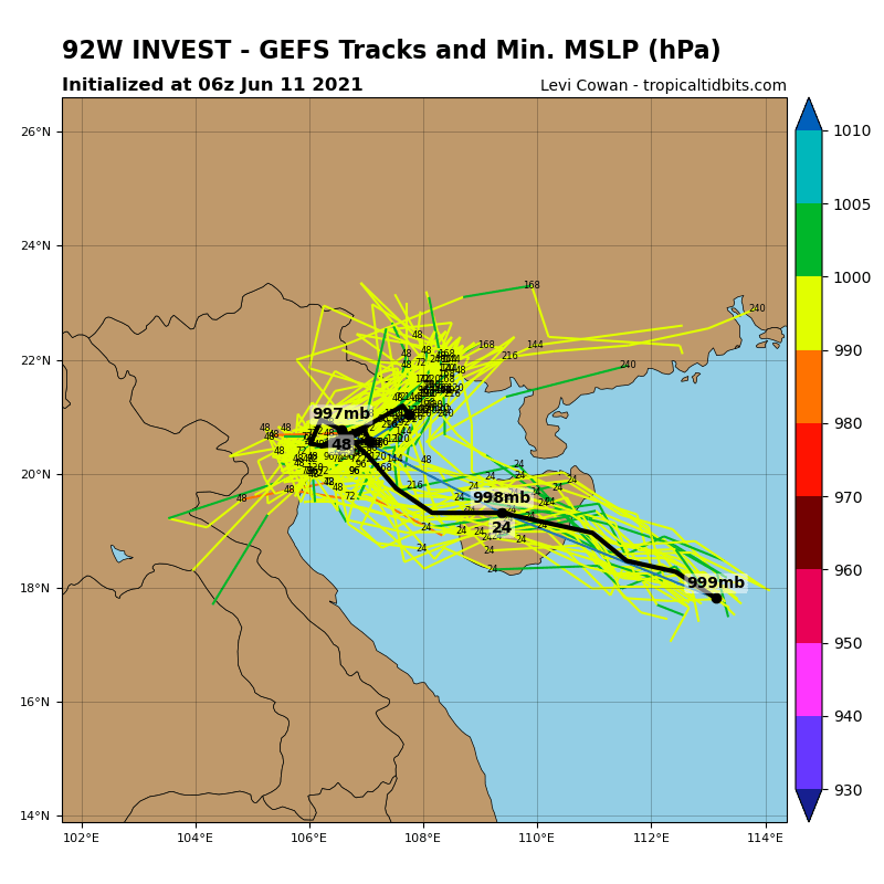 GLOBAL MODELS ARE IN GOOD AGREEMENT THAT 92W WILL CONTINUE  DEVELOPING ALONG ITS WEST-NORTHWESTWARD TRACK AND INTENSIFY PRIOR TO  MOVING OVER HAINAN ISLAND. AFTER A BRIEF PERIOD OF WEAKENING DUE TO  FRICTIONAL EFFECTS AS 92W PASSES OVER HAINAN ISLAND, 92W WILL RE- INTENSIFY WHEN IT ENTERS AN AREA OF EVEN WARMER WATERS AND LOWER VWS  OVER THE GULF OF TONKIN. FURTHERMORE, AN UPPER-LEVEL ANTICYCLONE TO  THE NORTH WILL RETROGRADE EASTWARD AND IMPROVE OUTFLOW ALLOWING FOR  FURTHER INTENSIFICATION.