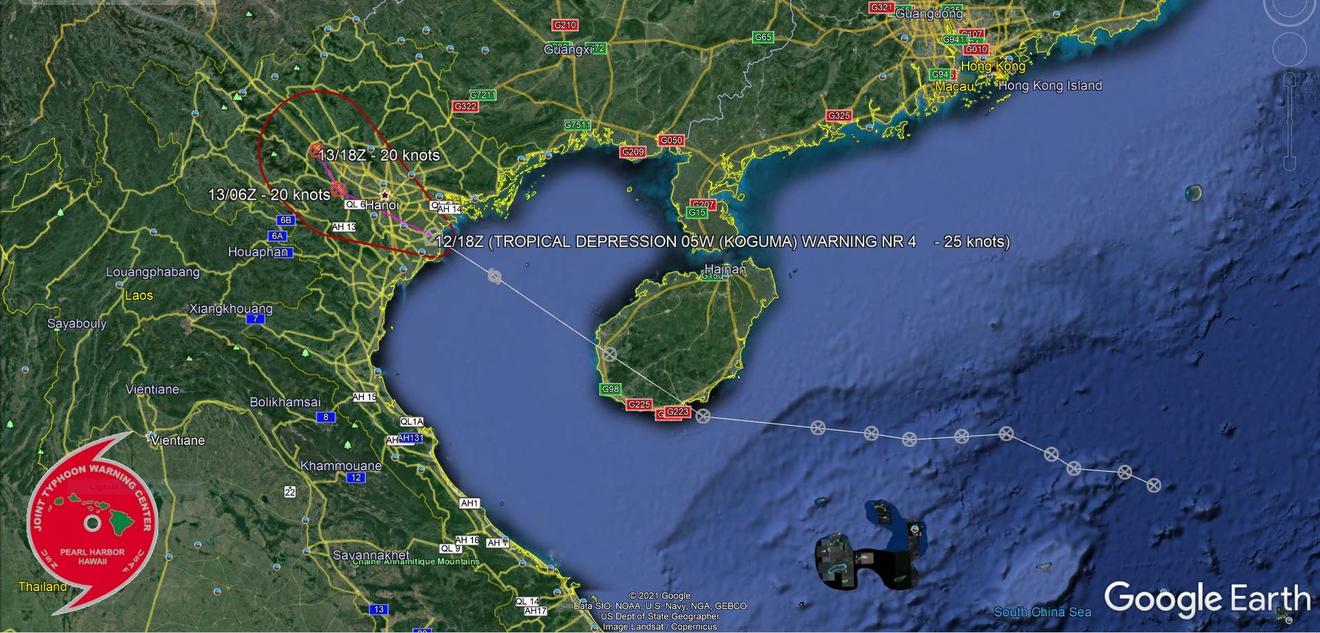 05W BRIEFLY REACHED 35KNOTS OVER THE GULF OF TONKIN AND WAS NAMED KOGUMA.