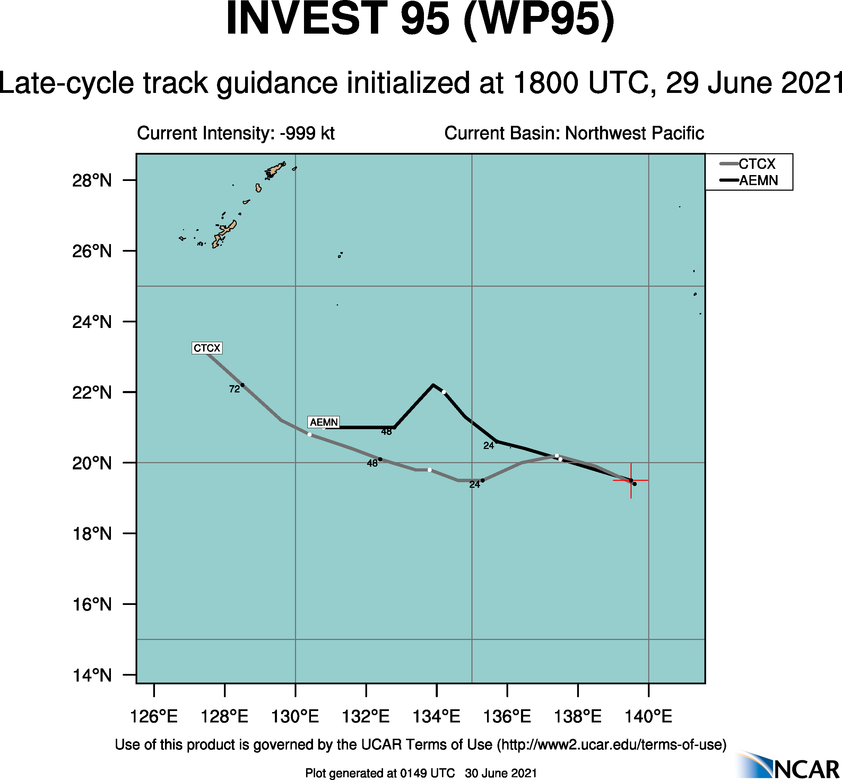 INVEST 95W. GLOBAL MODELS ARE IN GOOD AGREEMENT THAT  95W WILL CONTINUE TO TRACK WEST-SOUTHWESTWARD ALONG A SUBTROPICAL  RIDGE TO THE EAST AS IT STEADILY INTENSIFIES BEFORE TURNING TO A  MORE WEST-NORTHWESTWARD TRACK OVER THE NEXT 24-36 HOURS.