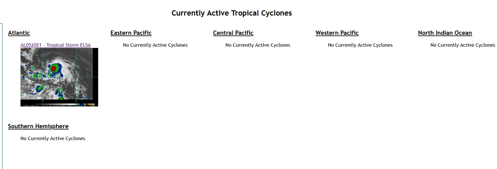 05L(ELSA) THE SOLE TROPICAL CYCLONE BEING CURRENTLY MONITORED WORLDWIDE.