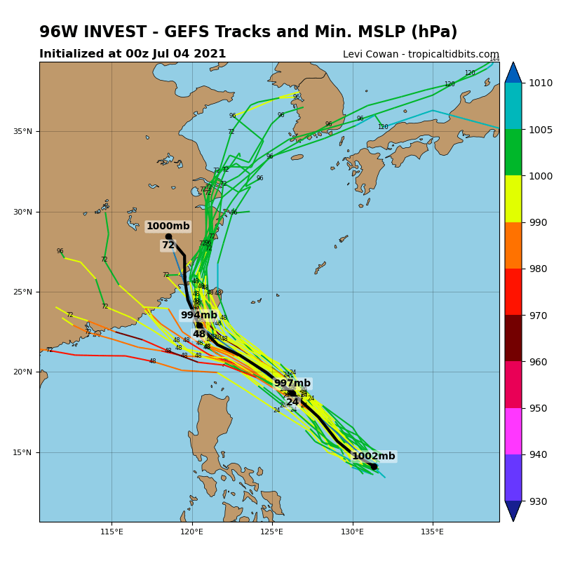 INVEST 96W. GFS ENSEMBLE CONTINUES TO HINT AT UP-COMING DEVELOPMENT.