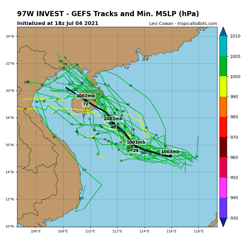 INVEST 97W. NUMERICAL MODELS ARE IN GENERAL AGREEMENT THAT 97W WILL TRACK NORTHWESTWARD BUT ARE SPLIT REGARDING INTENSIFICATION, WITH ECMWF DETERMINISTIC MODEL, THE ECMWF ENSEMBLE, AND NAVGEM SHOWING DEVELOPMENT IN THE NEXT TWO TO THREE DAYS WHILE  THE GFS AND JGSM ARE BELOW WARNING CRITERIA.