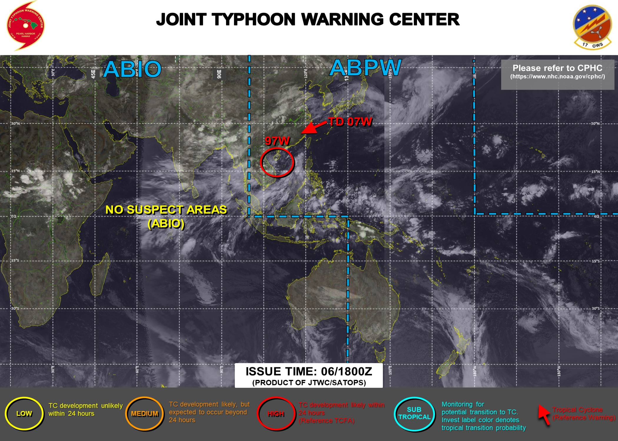 JTWC ISSUED THE FINAL WARNING ON TD 07W AT 06/03UTC. A TROPICAL CYCLONE FORMATION ALERT IS STILL IN FORCE FOR INVEST 97W AT 06/18UTC.