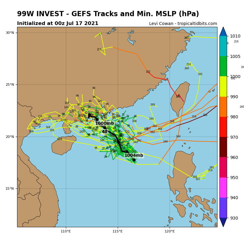INVEST 99W. GFS AND ICON BOTH INDICATE  INVEST 99W WILL CONSOLIDATE AND INTENSIFY AS IT TRACKS TO THE WEST- NORTHWEST OVER THE NEXT 24-48 HOURS.