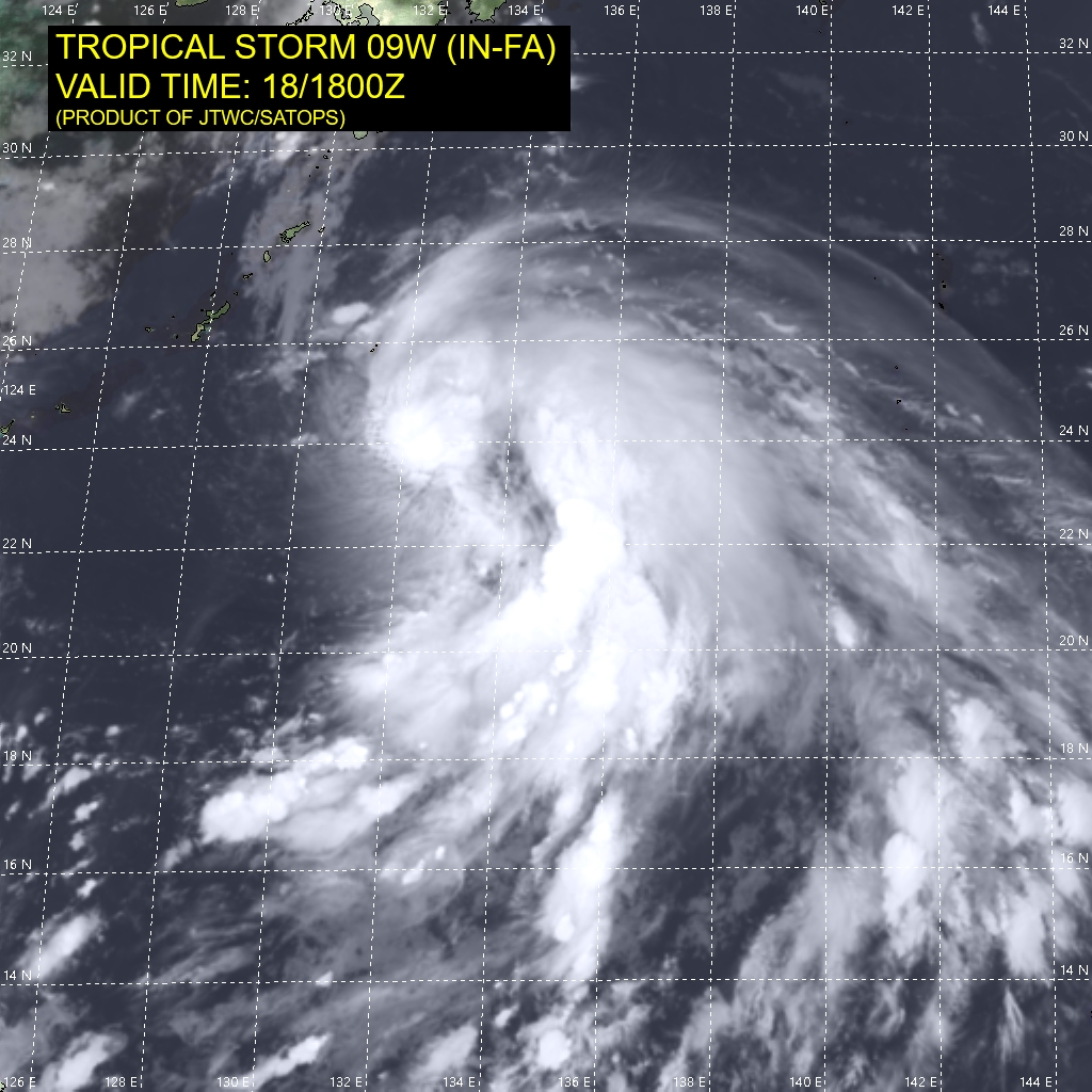 09W(IN-FA).SATELLITE ANALYSIS, INITIAL POSITION AND INTENSITY DISCUSSION: ANIMATED ENHANCED INFRARED (EIR) SATELLITE IMAGERY DEPICTS AREA OF VIGOROUS DEEP CONVECTION WRAPPING INTO A RAGGED CENTRAL CORE. TRACKING OF THE CENTER HAS BEEN DIFFICULT IN THE OVERNIGHT HOURS, HOWEVER AN 181708UTC AMSR2 IMAGE ARRIVED LATE IN THE CYCLE TO ASSIST. THE AMSR LOW LEVEL CIRCULATION CENTER (LLCC) APPEARS BROAD AND ILL-DEFINED, WITH DEEP CONVECTION DISPLACED TO THE NORTHEAST. THE INITIAL INTENSITY WAS ROUNDED UP FROM THE KNES T3.0 (45 KNOTS) TO 50 KNOTS BASED ON THE AMSR WINDSPEED DATA PRODUCT. THE LARGE SIZE OF 09W COMBINED WITH REMNANTS OF DRY AIR ARE INHIBITING THE SYSTEM FROM INTENSIFYING AT A FASTER RATE, DESPITE AN OTHERWISE FAVORABLE ENVIRONMENT.