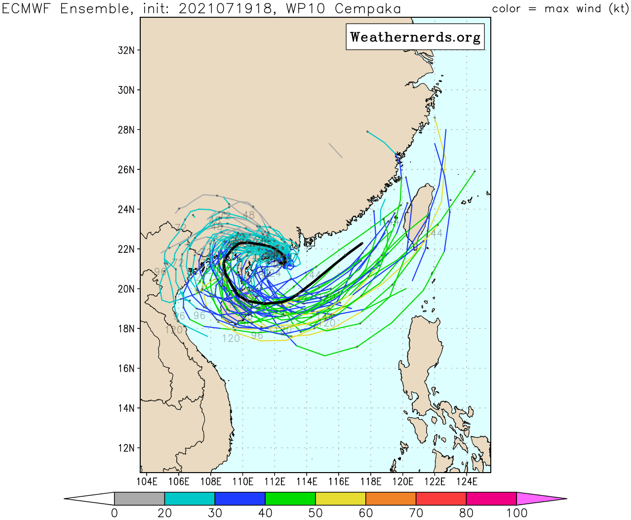 TY 10W(CEMPAKA).MODEL DISCUSSION: NUMERICAL MODELS ARE IN UNISON WITH THE TIGHT U-TURN FORECAST TRACK, ALBEIT IN VARYING DEGREES AND SPEED WITH NVGM OFFERING THE TIGHTEST TURN AND GFS AND JGSM ON THE WIDE MARGIN OF THE ENVELOPE. THIS, PLUS GIVEN THE UNCERTAINTY OF LAND INTERACTION AND THE ANTICIPATED STRONG SOUTHWESTERLY MONSOON SURGE IN THE SOUTH CHINA SEA, CONTRIBUTE TO AN OVERALL LOW CONFIDENCE IN THE JTWC TRACK AND INTENSITY FORECASTS.