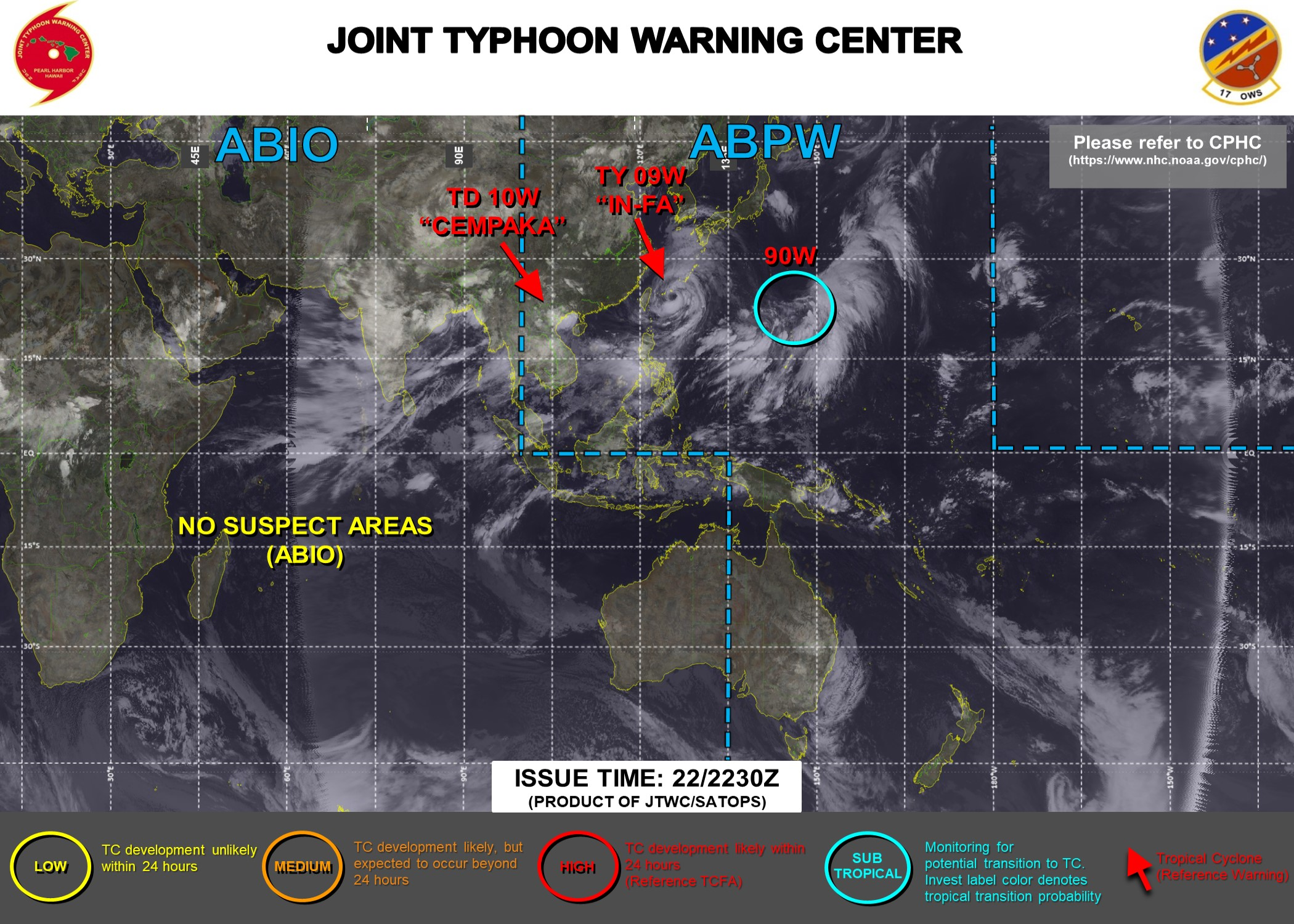 INVEST 90W WAS FIRST MENTIONNED ON THE JTWC MAP AT 22/06UTC. IT IS ASSESSED TO BE A SUBTROPICAL SYSTEM(HYBRID WITH BOTH MID-LATITUDE AND TROPICAL FEATURES). THE AREA WAS UP-GRADED TO HIGH AT 22/22UTC. ON THE OTHER END JTWC HAS BEEN ISSUING 6HOURLY WARNINGS ON 09W AND 10W. 3HOURLY SATELLITE BULLETINS ARE ISSUED FOR BOTH SYSTEMS.