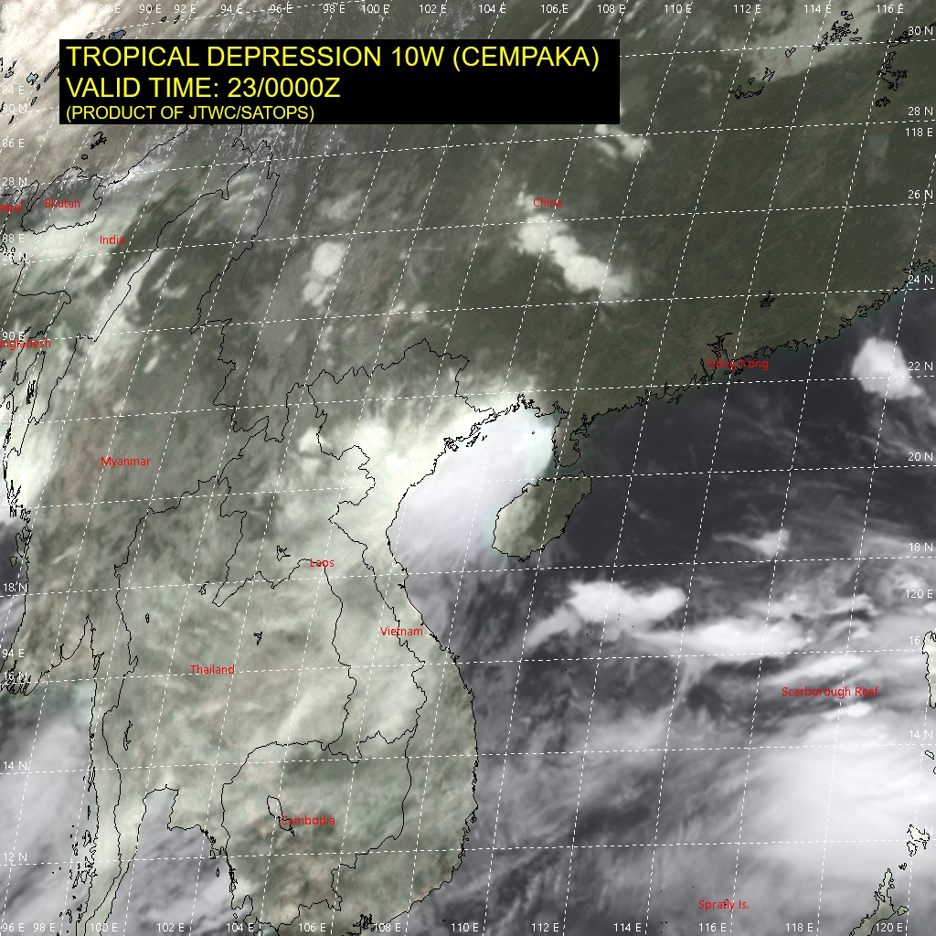 10W(CEMPAKA). SATELLITE ANALYSIS, INITIAL POSITION AND INTENSITY DISCUSSION: ANIMATED MULTISPECTRAL SATELLITE IMAGERY (MSI), ANIMATED RADAR IMAGERY, AND SURFACE REPORTS ALONG COASTAL CHINA AND VIETNAM CONFIRM THAT THE VORTEX OF TD 10W REMAINS INTACT AND HAS MOVED OFF-SHORE. SOME DISORGANIZED CONVECTION PERSISTS WITH THE SYSTEM, PARTICULARLY SOUTH OF THE LOW LEVEL CIRCULATION CENTER (LLCC).  DURING THE PAST 18 HOURS VERTICAL WIND SHEAR (VWS) HAS INCREASED SUBSTANTIALLY OVER THE GULF OF TONKIN, CREATING AN UNFAVORABLE ENVIRONMENT FOR SYSTEM REGENERATION.