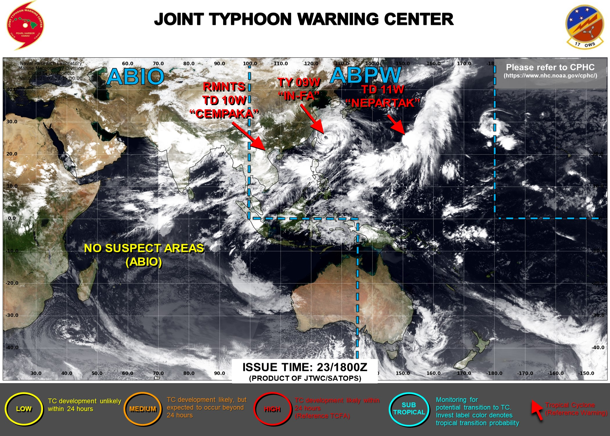 JTWC HAS BEEN ISSUING 6HOURLY WARNINGS ON 09W AND 11W. WARNING 21/FINAL WAS ISSUED ON 10W AT 23/15UTC. 3HOURLY SATELLITE BULLETINS ARE ISSUED ON THE 3 SYSTEMS.