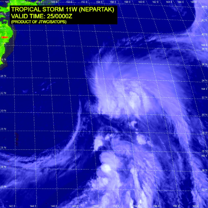 11W(NEPARTAK).SATELLITE ANALYSIS, INITIAL POSITION AND INTENSITY DISCUSSION: ANIMATED MULTISPECTRAL SATELLITE IMAGERY (MSI) SHOWS THE LOW LEVEL CIRCULATION (LLC) IS NOW FULLY EXPOSED. IT IS WEAK AND RAGGED WITH THE MAIN CONVECTION SHEARED OVER 185KM NORTHEASTWARD. THE INITIAL POSITION IS PLACED WITH HIGH CONFIDENCE BASED ON THE LLC IN THE MSI LOOP. THE INITIAL INTENSITY OF 35 KNOTS IS ASSESSED WITH LOW CONFIDENCE BASED ON THE PGTW DVORAK THAT IS BASED ON SUBTROPICAL METHOD.