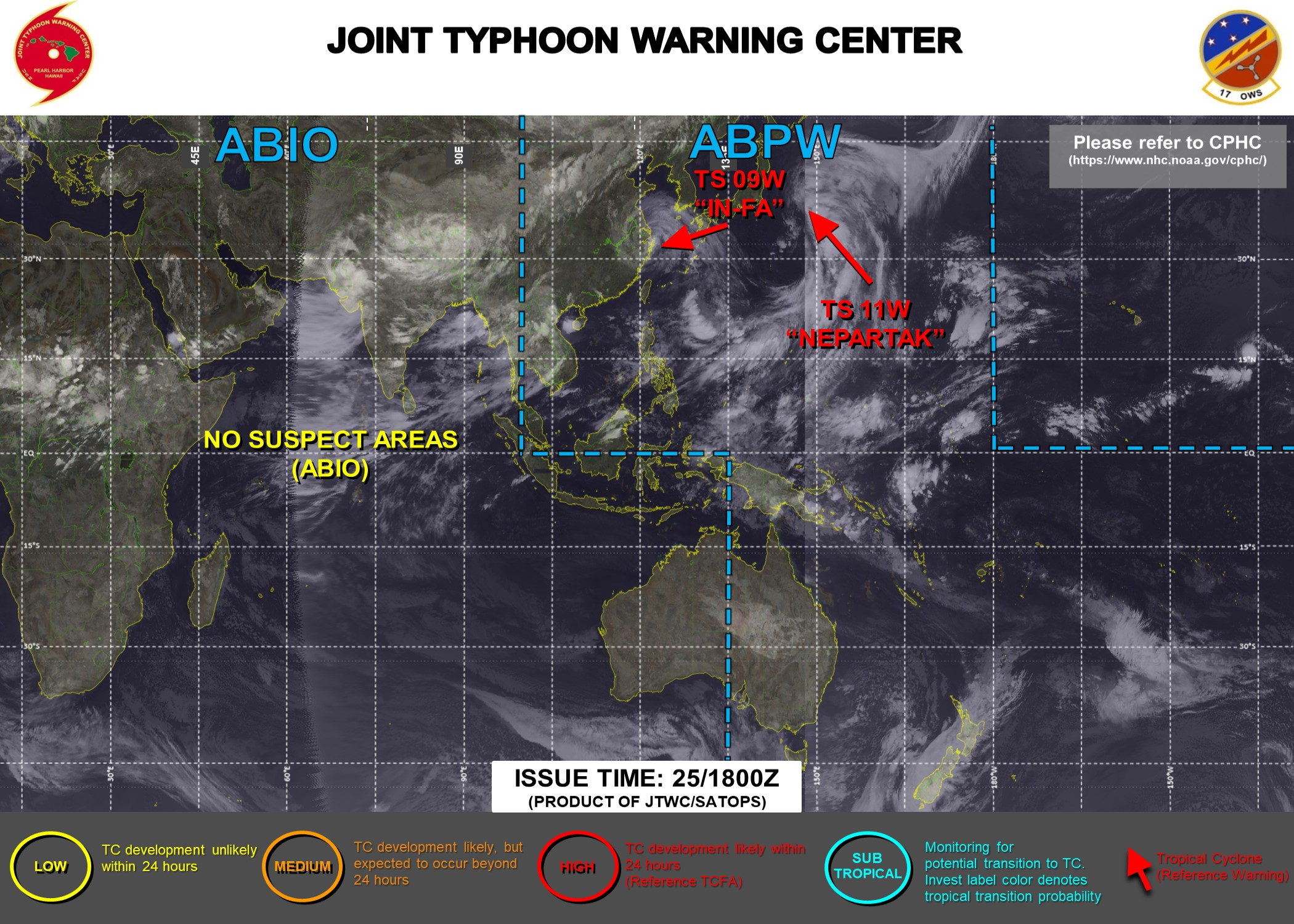 JTWC HAS BEEN ISSUING 6HOURLY WARNINGS AND 3HOURLY SATELLITE BULLETINS ON 09W AND 11W.