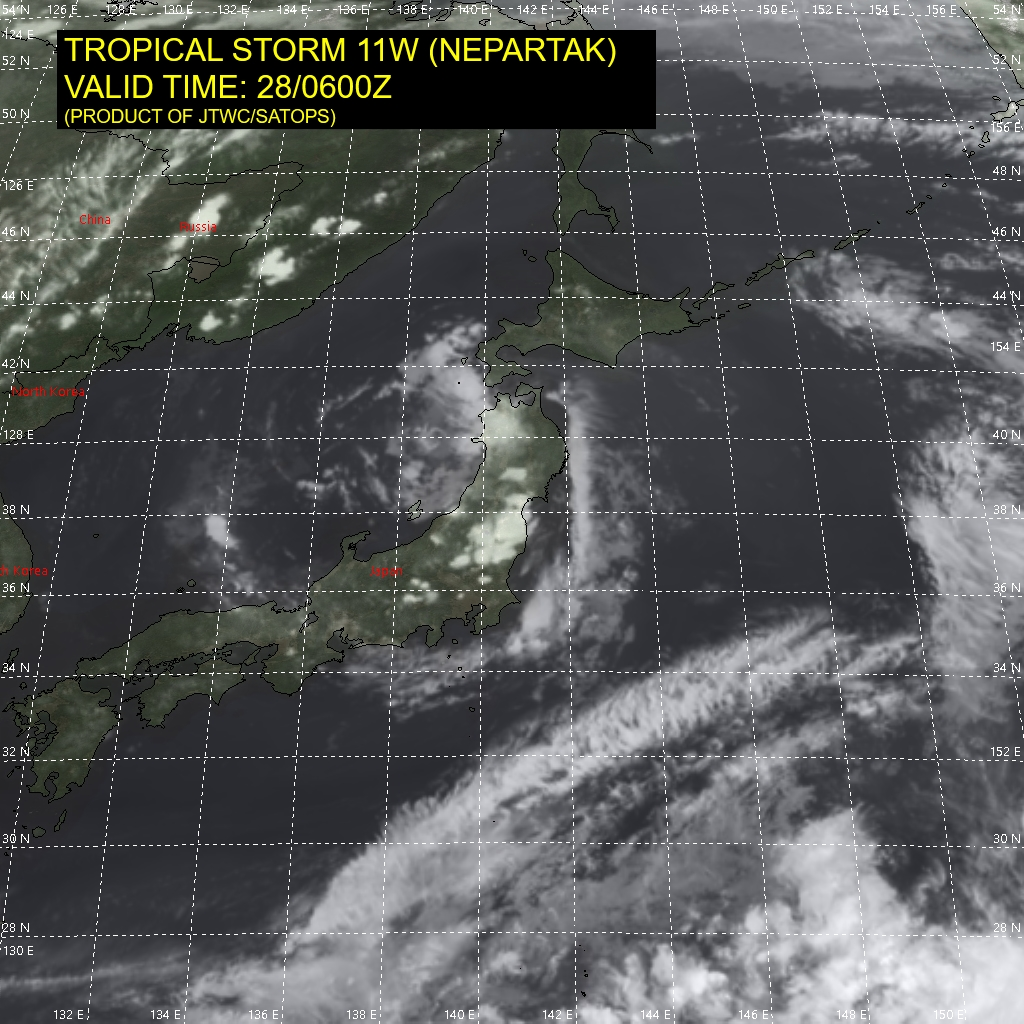 11W(NEPARTAK). SATELLITE ANALYSIS, INITIAL POSITION AND INTENSITY DISCUSSION: 11 (NEPARTAK) REMAINS CLASSIFIED AS A SUBTROPICAL DEPRESSION. ANIMATED MULTISPECTRAL SATELLITE IMAGERY (MSI) DEPICTS A RAGGED AND DISORGANIZED LOW LEVEL CIRCULATION (LLC) CENTERED OVER THE FAR WESTERN PORTION OF NORTHERN HONSHU. SCATTERED WEAK CONVECTIVE ACTIVITY IS FLARING OVER AND JUST NORTHWEST OF THE ASSESSED CENTER, BUT OVERALL THE CONVECTIVE STRUCTURE HAS COLLAPSED AS THE SYSTEM CROSSED OVER THE NORTHERN JAPANESE ALPS. THE SYSTEM REMAINS UNDER AN UPPER-LEVEL LOW, AND CIRA THERMAL CROSS SECTIONS CONTINUE TO EXHIBIT STRONG SUBTROPICAL CHARACTERISTICS, WITH A WEAK COLD ANOMALY IN THE LOW TO MID-LEVELS TOPPED BY A MODERATELY STRONG WARM ANOMALY IN THE UPPER LEVELS. THE INITIAL POSITION IS ASSESSED WITH MEDIUM CONFIDENCE, AS THERE IS A LARGE DISCREPANCY BETWEEN THE PGTW AND RJTD FIX POSITIONS, WITH RJTD WELL OUT TO SEA WHILE PGTW REMAINS OVER LAND. SURFACE OBSERVATIONS FROM FUKAURA AND ANIMATED RADAR DATA ASSISTED IN REFINING THE INITIAL POSITION. THE INITIAL INTENSITY REMAINS AT 30 KNOTS WITH MEDIUM CONFIDENCE BASED PRIMARILY ON THE SURFACE PRESSURE READINGS OF 999 MB FROM FUKAURA.