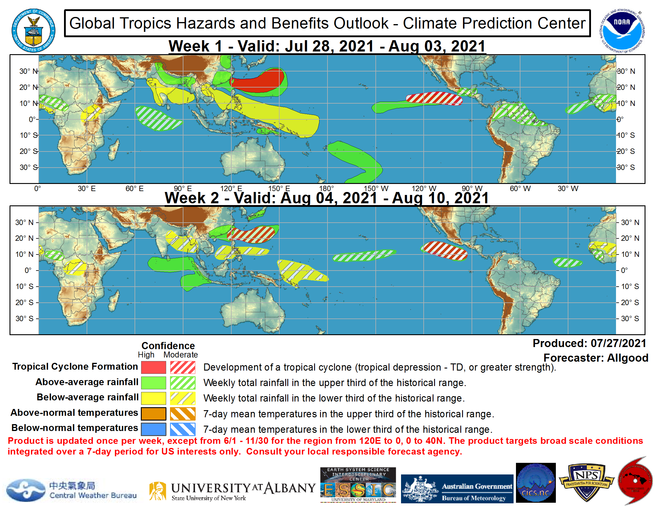 The precipitation outlook during the next two weeks is based on a consensus of GEFS, CFS, and ECMWF guidance, with some consideration given to precipitation composites based on prior MJO events. For hazardous weather concerns during the next two weeks across the U.S., please refer to your local NWS Forecast Office, the Weather Prediction Center's Medium Range Hazards Forecast, and CPC's Week-2 Hazards Outlook. Forecasts over Africa are made in consultation with the International Desk at CPC and can represent local-scale conditions in addition to global scale variability. NOAA.