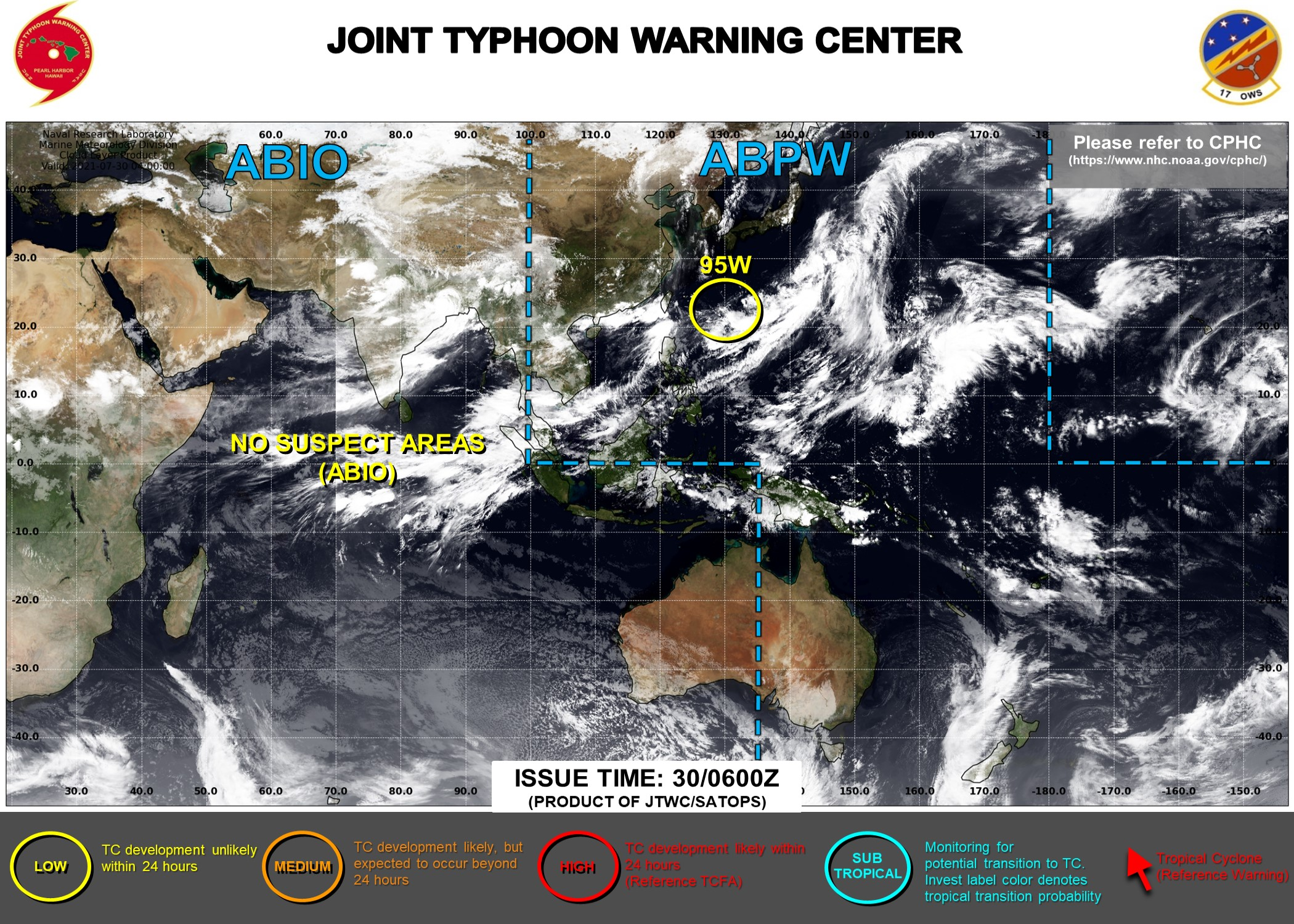 Western Pacific: Invest 95W under watch//Eastern Pacific: Tropical Cyclone Formation Alerts, 30/06utc updates