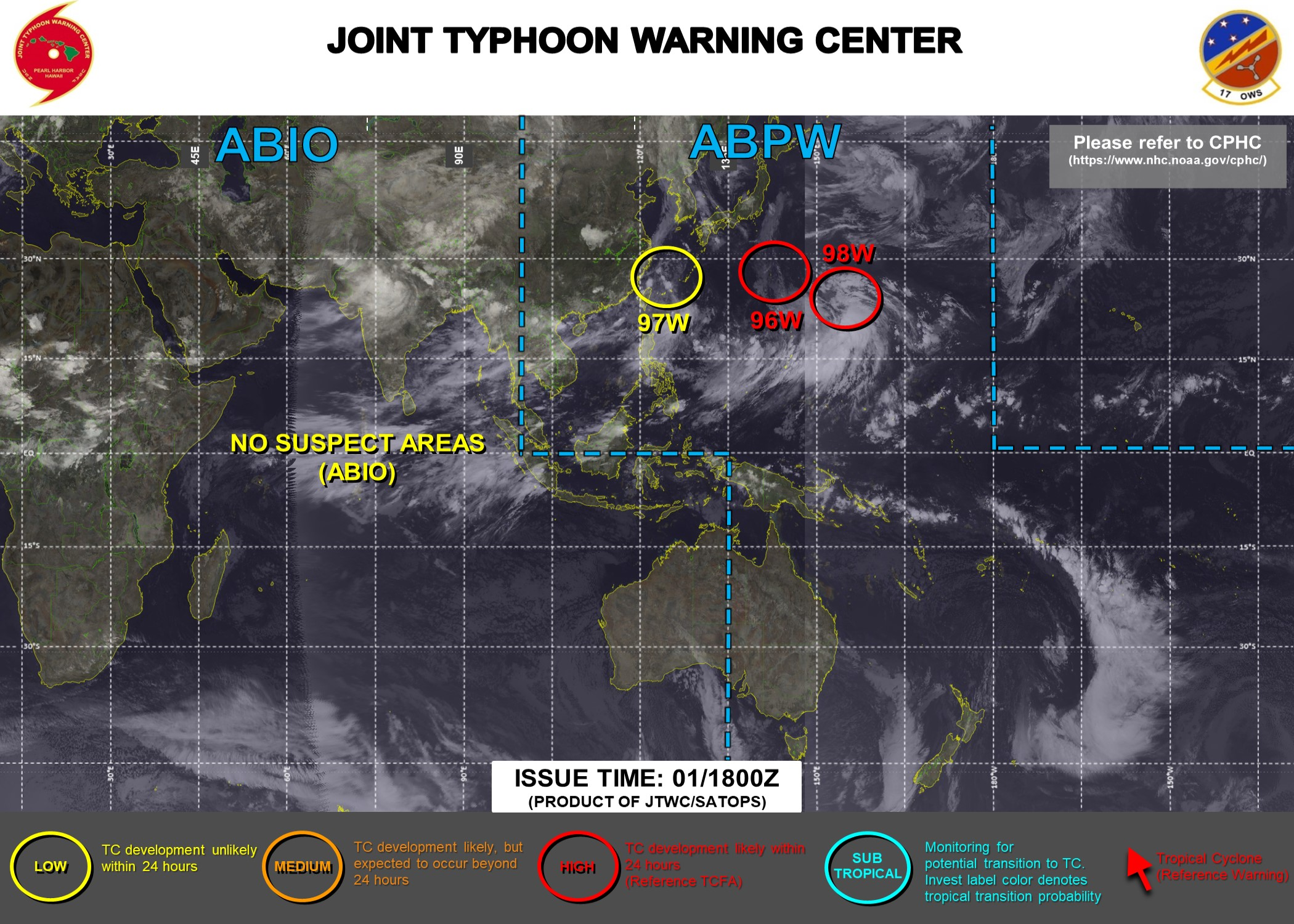 01/18UTC. A TROPICAL CYCLONE FORMATION ALERT ISSUED FOR BOTH INVEST 96W & INVEST 98W. BOTH AREAS HAVE HIGH CHANCES OF DEVELOPING AT LEAST 25KNOT WINDS NEAR THE CENTRER WITHIN 24HOURS. JTWC HAS BEEN ISSUING 3HOURLY SATELLITTE BULLETINS ON 96W.