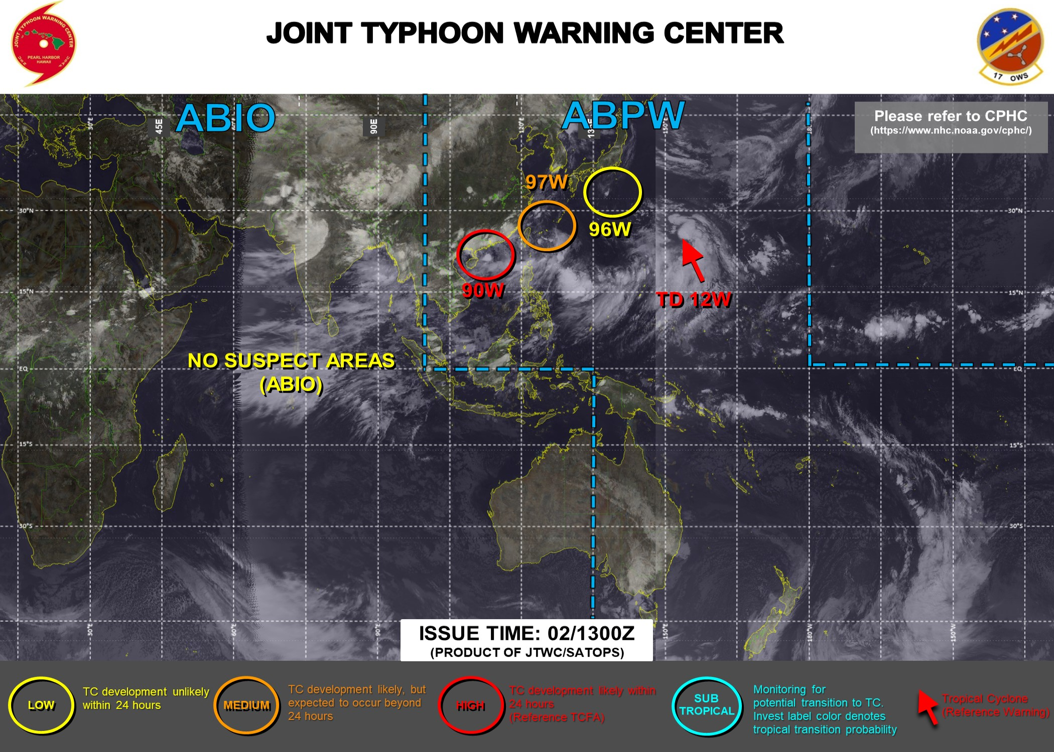 02/15UTC. INVEST 98W WAS UP-GRADED TO TD 12W AT 02/09UTC. A TROPICAL CYCLONE FORMATION ALERT WAS ISSUED AT 02/13UTC FOR INVEST 90W. INVEST 97W IS MEDIUM WHEREAS DEVELOPMENT IS STILL DEEMED UNLIKELY FOR INVEST 96W. JTWC IS ISSUING 6HOURLY WARNINGS ON 12W AND 3HOURLY SATELLITE BULLETINS ON 12W AND 90W.
