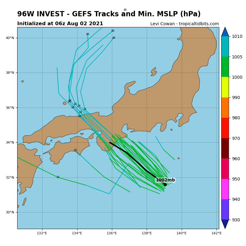 INVEST 96W.THE AREA OF CONVECTION (INVEST 96W) PREVIOUSLY LOCATED  NEAR 26.8N 143.4E IS NOW LOCATED NEAR 30.1N 140.8E, APPROXIMATELY  575 KM SOUTH OF YOKOSUKA. ANIMATED MULTISPECTRAL SATELLITE IMAGERY  (MSI)DEPICTS A FULLY EXPOSED LOW LEVEL CIRCULATION CENTER (LLCC). A  022201UTC SSMIS 91GHZ MICROWAVE IMAGE REVEALS THE CONVECTION  ASSOCIATED WITH THE SYSTEM IS DISPLACED TO THE SOUTH OF THE LLCC. A  020109UTC ASCAT-C PARTIAL PASS REVEALS AN ELONGATED LLCC AND 15-20  KNOT WINDS IN THE NORTHERN PERIPHERY. ANALYSIS INDICATES AN  ENVIRONMENT THAT IS MARGINALLY CONDUCIVE FOR DEVELOPMENT  CHARACTERIZED BY WARM (29-30C) SEA SURFACE TEMPERATURES (SST) OFFSET  BY LIMITED POLEWARD OUTFLOW ALOFT, AND MODERATE (15-25 KT VERTICAL  WIND SHEAR (VWS). GLOBAL MODELS AGREE THAT INVEST 96W WILL UNDERGO  MINIMAL, IF ANY, CONSOLIDATION AS IT PROPAGATES NORTHWESTWARD  TOWARDS JAPAN. MAXIMUM SUSTAINED SURFACE WINDS ARE ESTIMATED AT 10  TO 15 KNOTS. MINIMUM SEA LEVEL PRESSURE IS ESTIMATED TO BE NEAR 1000  MB. THE POTENTIAL FOR THE DEVELOPMENT OF A SIGNIFICANT TROPICAL  CYCLONE WITHIN THE NEXT 24 HOURS REMAINS LOW.