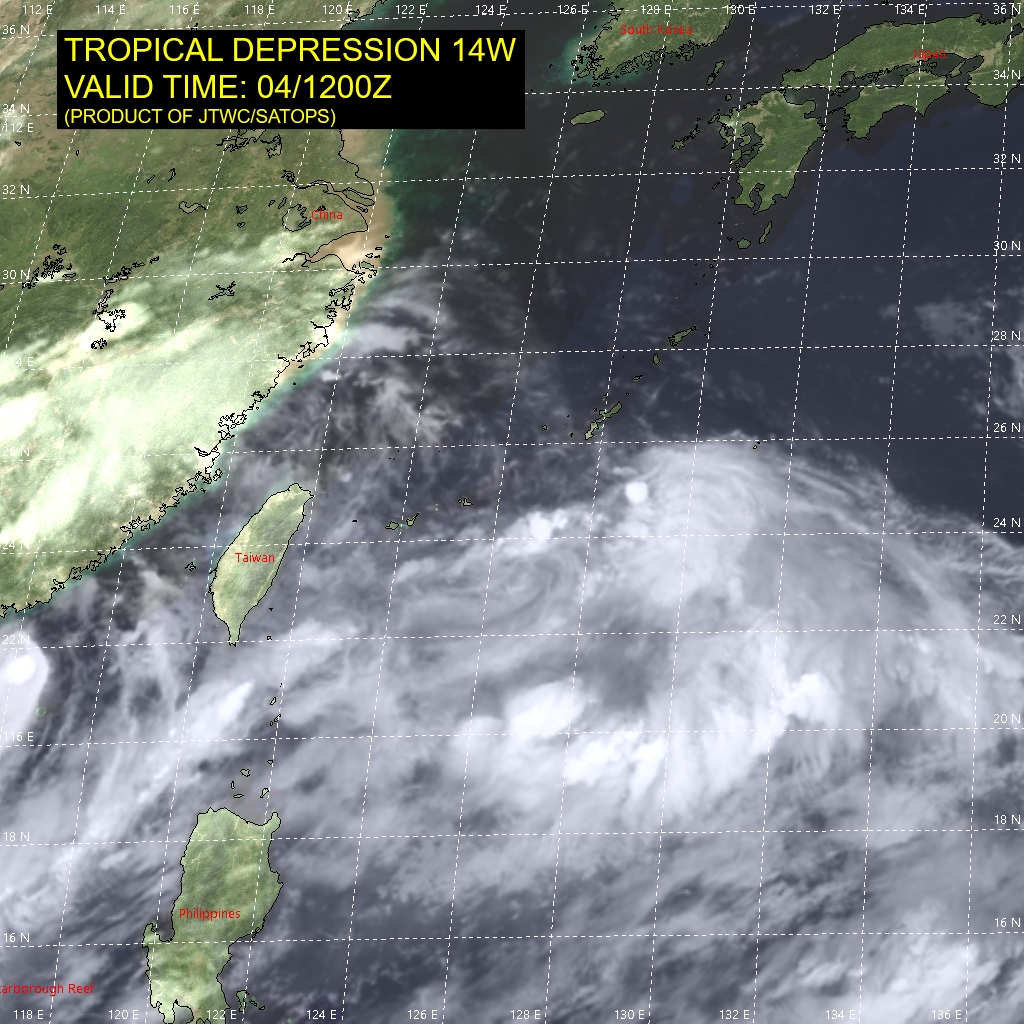 14W.SATELLITE ANALYSIS, INITIAL POSITION AND INTENSITY DISCUSSION: ANIMATED ENHANCED INFRARED (EIR) SATELLITE IMAGERY  SHOWS A BROAD, ELONGATED, AND CONSOLIDATING SYSTEM EMBEDDED IN THE MONSOON TROUGH WITH SEVERAL WEAK VORTICES, ALONG THE TROUGH WITH ONE EXPOSED  SPINNER TO THE WEST-NORTHWEST OF THE MAIN CONVECTION. THE INITIAL  POSITION IS PLACED WITH LOW CONFIDENCE ON THE CENTROID OF THE  VORTICES, JUST TO THE WEST OF THE MAIN CONVECTION THAT IS BEGINNING  TO WRAP. THE INITIAL INTENSITY IS ASSESSED WITH MEDIUM CONFIDENCE  HELD HIGHER THAN AGENCY DVORAK BUT SUPPORTED BY NEARBY SURFACE  OBSERVATIONS INCLUDING FROM NAHA, OKINAWA, AND REFLECTS THE IMPROVED  CONSOLIDATION. THE SYSTEM IS IN A FAVORABLE ENVIRONMENT WITH LOW  VWS, MODERATE EQUATORWARD OUTFLOW, AND WARM SSTS.