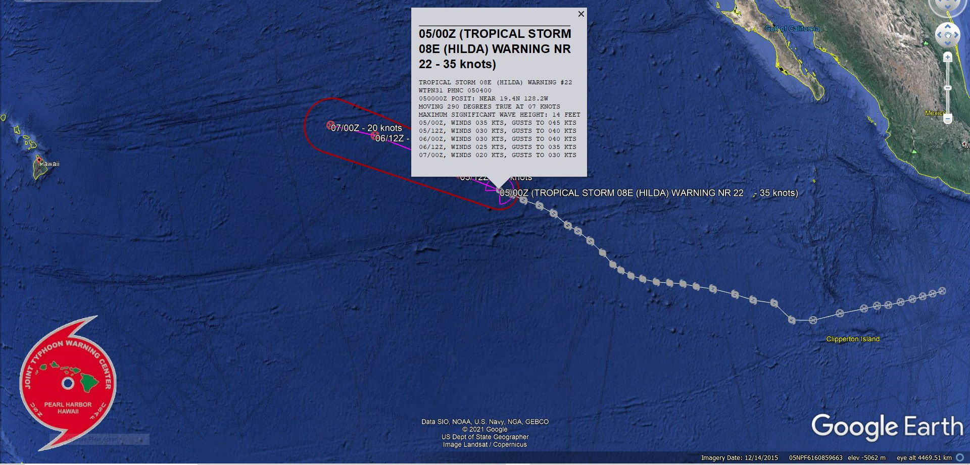 EASTERN PACIFIC. TS 08E(HILDA). WARNING 22 ISSUED AT 05/04UTC. INTENSITY IS FORECAST TO FALL BELOW 35KNOTS WITHIN 12H.