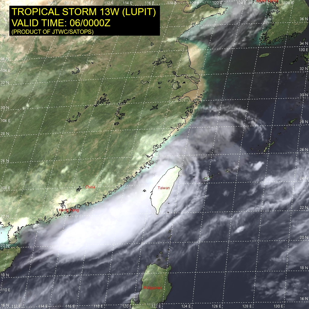 TS 13W(LUPIT). SATELLITE ANALYSIS, INITIAL POSITION AND INTENSITY DISCUSSION: ANIMATED MULTISPECTRAL SATELLITE IMAGERY (MSI) DEPICTS A WEAKLY- DEFINED LOW-LEVEL CIRCULATION CENTER (LLCC) POSITIONED ALONG THE  COAST OF CHINA WITH EXTENSIVE DEEP CONVECTIVE BANDING ASSOCIATED  WITH STRONG, CONVERGENT SOUTHWESTERLY FLOW THROUGH THE TAIWAN  STRAIT. A 052250UTC SSMIS 91GHZ IMAGE INDICATES THE EXTENSIVE DEEP  CONVECTIVE BANDING WRAPS BROADLY OVER THE NORTHERN PERIPHERY OF THE  SYSTEM. ANIMATED RADAR IMAGERY REVEALS SHALLOW RAINBANDS WRAPPING  INTO A DEFINED LLCC, WHICH SUPPORTS THE INITIAL POSITION WITH MEDIUM  CONFIDENCE. THE INITIAL INTENSITY IS ASSESSED AT 35 KNOTS WITH  MEDIUM CONFIDENCE BASED ON THE RJTD DVORAK ESTIMATE.