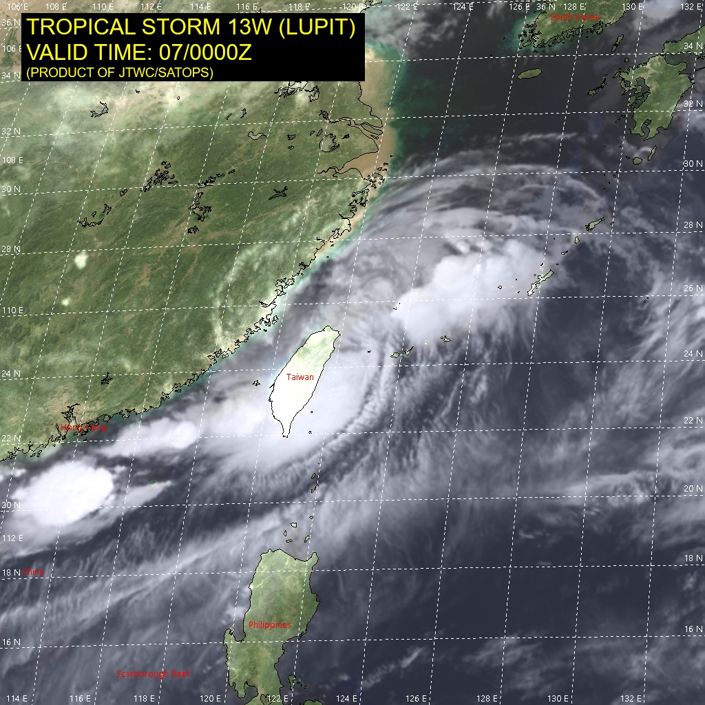 TS 13W(LUPIT).SATELLITE ANALYSIS, INITIAL POSITION AND INTENSITY DISCUSSION: ANIMATED MULTISPECTRAL SATELLITE IMAGERY (MSI) DEPICTS A BROAD CIRCULATION BEGINNING TO BECOME DEFORMED BY THE HIGH TERRAIN OF TAIWAN, WITH THE ONSHORE FLOW TO THE SOUTH OF THE LOW-LEVEL CIRCULATION CENTER (LLCC) GENERATING A BAND OF DEEP CONVECTION. THE INITIAL POSITION WAS PLACED WITH MEDIUM CONFIDENCE BASED ON A 062237UTC SSMIS 91GHZ MICROWAVE IMAGE AND RADAR, INDICATING THAT THE LLCC HAD TAKEN A TEMPORARY JOG TOWARD THE SOUTHEAST WITH A TURN BACK TOWARD THE EAST-NORTHEAST OVER THE LAST 6 HOURS. THE INITIAL INTENSITY IS HELD AT 40 KNOTS BASED ON NO CHANGE TO THE DVORAK ASSESSMENTS FROM PGTW AND RJTD OVER THE LAST 6 HOURS.