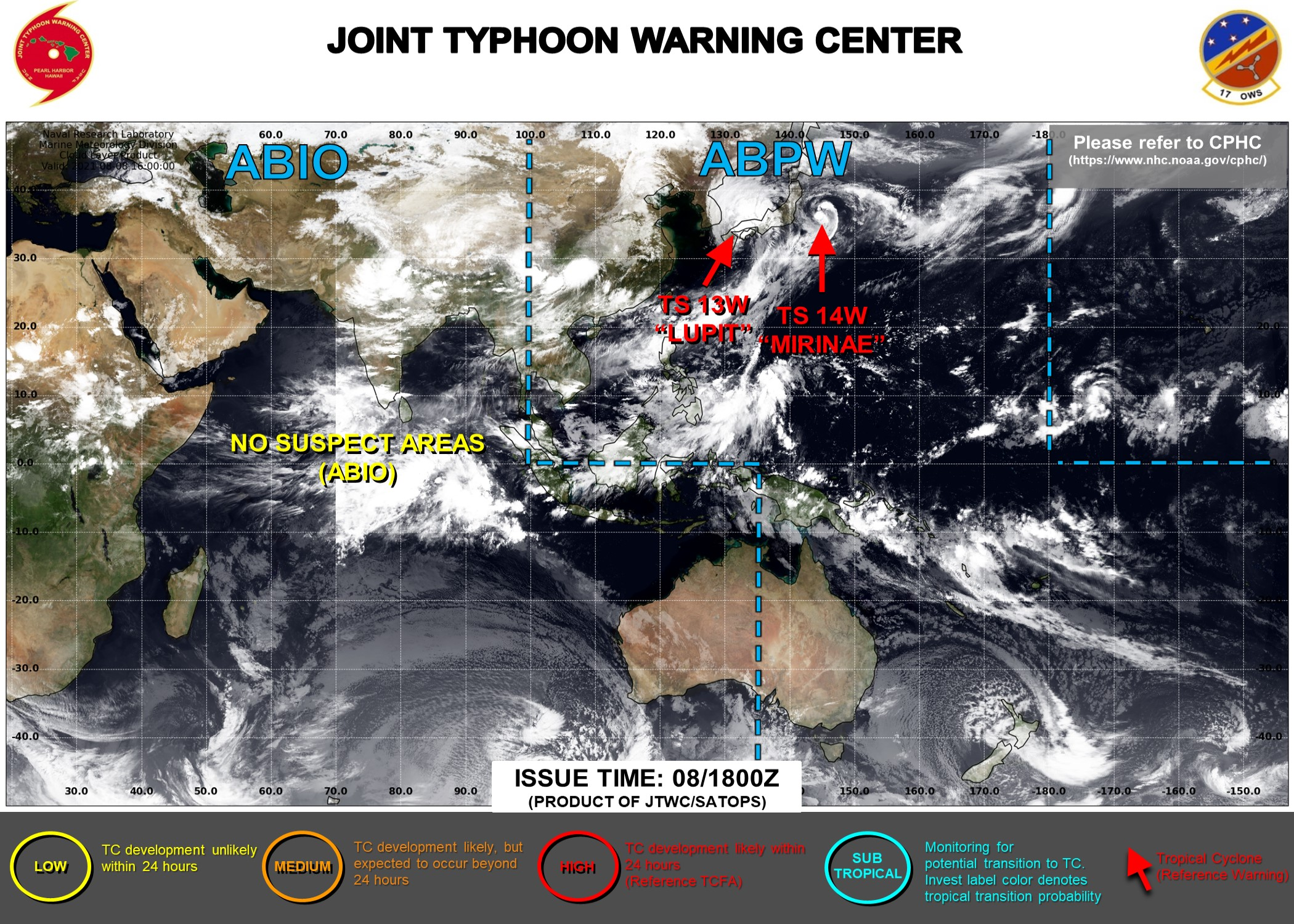 JTWC ARE ISSUING 6HOURLY WARNINGS AND 3HOURLY SATELLITE BULLETINS ON 13W AND 14W.