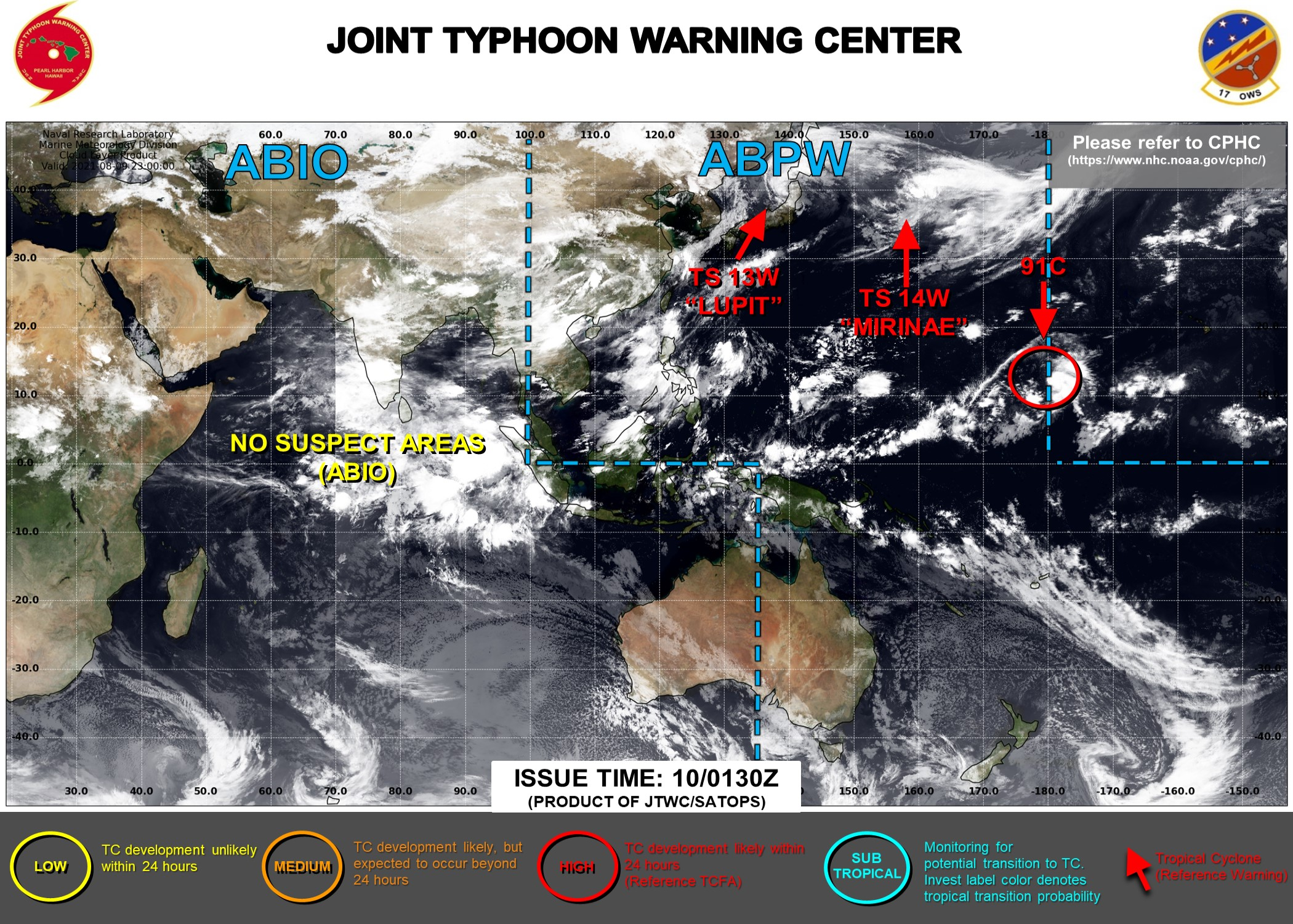 13W & 14W ARE BOTH EXTRA-TROPICAL. ORIGINATING EAST OF THE DATELINE INVEST 91C IS NOW HIGH.JTWC ARE ISSUING 3HOURLY SATELLITE BULLETINS FOR 13W,14W AND 91C.