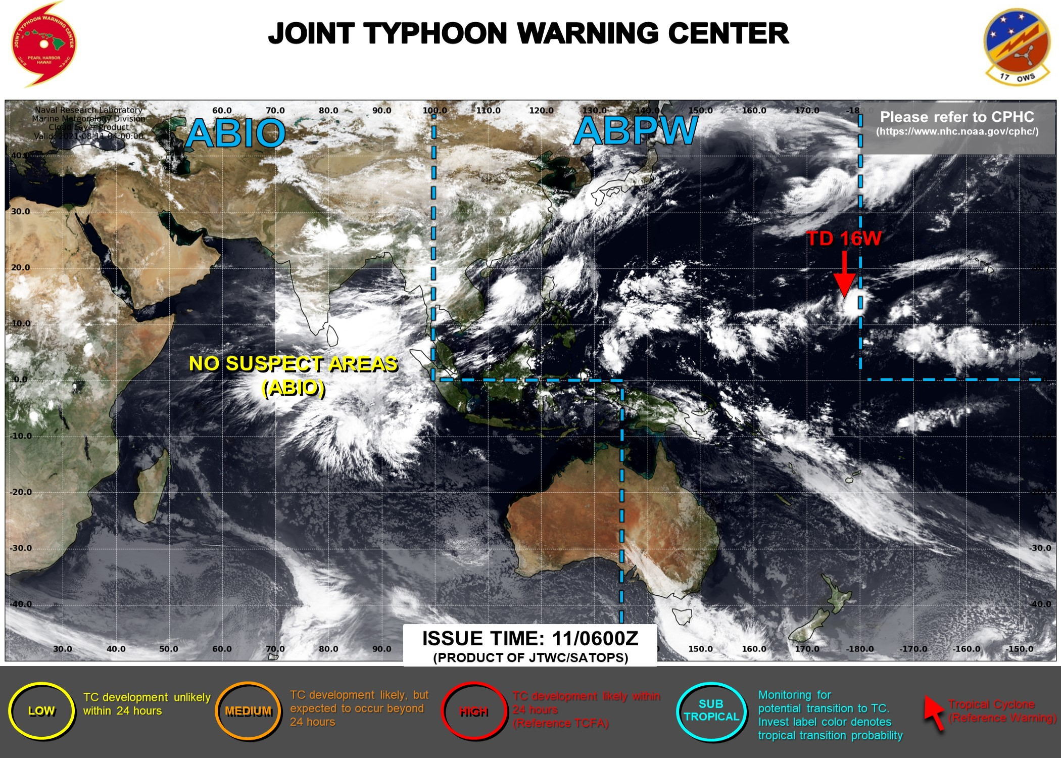JTWC ARE ISSUING 6HOURLY WARNINGS AND 3HOURLY SATELLITE BULLETINS ON TD 16W.