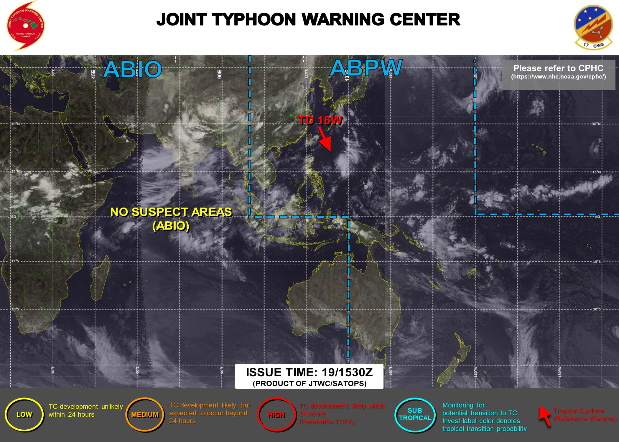 TD 16W. JTWC HAVE ARE RE-ISSUING 6HOURLY WARNINGS ON 16W. 3HOURLY SATELLITE BULLETINS ARE STILL ISSUED ON THIS SYSTEM.