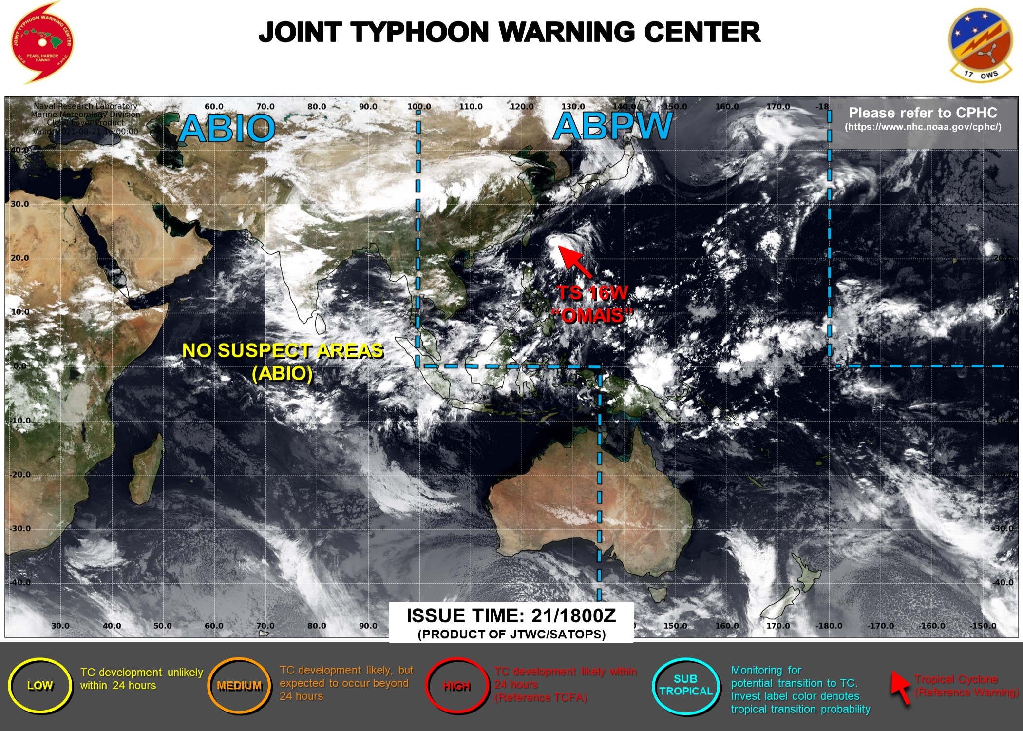 Western Pacific: 16W(OMAIS) tracking Southwest of Okinawa//Eastern Pacific: remnants of Major Hurricane 07L(GRACE): Tropical Cyclone Formation Alert,22/03utc updates