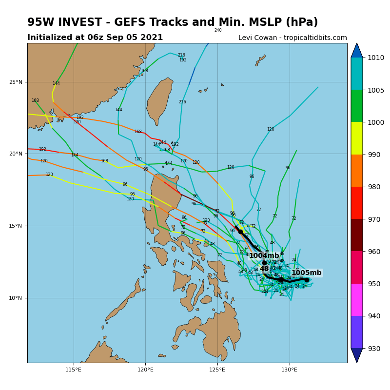 THE AREA OF CONVECTION (INVEST 95W) PREVIOUSLY LOCATED  NEAR 11.2N 131.1E IS NOW LOCATED NEAR 11.0N 129.7E, APPROXIMATELY  680 KM EAST-SOUTHEAST OF LEGAZPI, PHILIPPINES. ANIMATED EIR  SATELLITE IMAGERY DEPICTS PERSISTENT CONVECTION OBSUCRING A LOW  LEVEL CIRCULATION CENTER (LLCC) WITH LOW LEVEL CLOUD LINES WRAPPING  INTO THE CENTER. A 051148Z ASCAT PARTIAL PASS REVEALS 15-20 KT WINDS  ALONG THE OUTSKIRTS OF THE DEEP CONVECTION, AND MARGINAL WRAPPING OF  THE WINDS ON THE WESTERN PERIPHERY. INVEST 95W IS IN A FAVORABLE  ENVIRONMENT CHARACTERIZED BY EQUATORWARD OUTFLOW ALOFT, WARM (30C)  SST, AND LOW VERTICAL WIND SHEAR. GLOBAL MODELS GENERALLY AGREE THAT INVEST  95W WILL UNDERGO MINIMAL, IF ANY, CONSOLIDATION AND INTENSIFICATION  DURING THE NEXT 24 HOURS. MAXIMUM SUSTAINED SURFACE WINDS ARE  ESTIMATED AT 10 TO 15 KNOTS. MINIMUM SEA LEVEL PRESSURE IS ESTIMATED  TO BE NEAR 1010 MB. THE POTENTIAL FOR THE DEVELOPMENT OF A  SIGNIFICANT TROPICAL CYCLONE WITHIN THE NEXT 24 HOURS IS UPGRADED TO  MEDIUM.