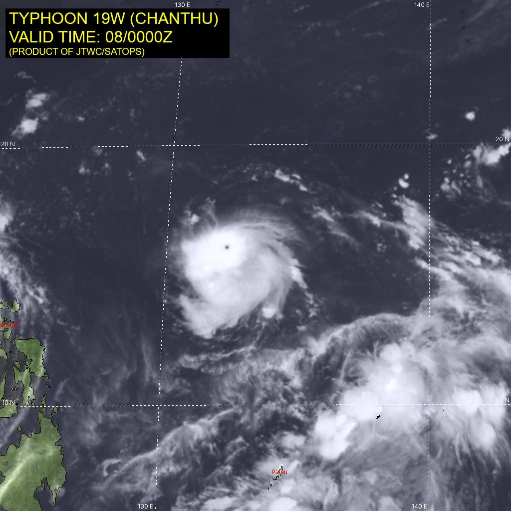 TY 19W(CHANTHU). SATELLITE ANALYSIS, INITIAL POSITION AND INTENSITY DISCUSSION: ANIMATED ENHANCED INFRARED (EIR) SATELLITE IMAGERY DEPICTS A COMPACT, SYMMETRIC CORE OF INTENSE CONVECTION SURROUNDING A 9-KM PINHOLE EYE. OBJECTIVE ADT ESTIMATES ARE NOT HANDLING THE INTENSITY WELL DUE TO THE PINHOLE EYE AND ARE VASTLY UNDERESTIMATING  THE INITIAL INTENSITY. EIR ALSO INDICATES TROCHOIDAL MOTION (WOBBLE) AS THE SYSTEM TRACKS GENERALLY WESTWARD UNDER THE STEERING INFLUENCE OF THE SUBTROPICAL RIDGE POSITIONED TO THE NORTH. UPPER-LEVEL CONDITIONS ARE VERY FAVORABLE WITH RADIAL OUTFLOW AND LOW VERTICAL WIND SHEAR. ADDITIONALLY, SST VALUES ARE CONDUCIVE AND OCEAN HEAT CONTENT VALUES ARE VERY HIGH SUPPORTING THE RECENT EXTREME RAPID INTENSIFICATION EVENT. THE INITIAL POSITION IS PLACED WITH HIGH CONFIDENCE BASED ON THE PINHOLE EYE. THE INITIAL INTENSITY OF 120 KTS/CAT 4 IS ASSESSED WITH HIGH CONFIDENCE BASED ON THE PGTW, RCTP AND KNES DVORAK ESTIMATES.